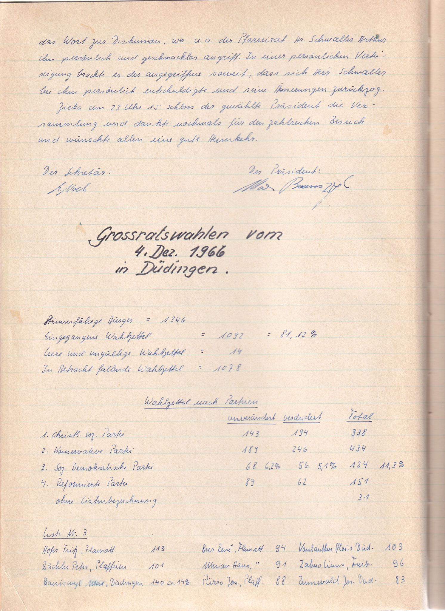 Protokoll der Gründungsversammlung vom 8. November 1966 2. Seite