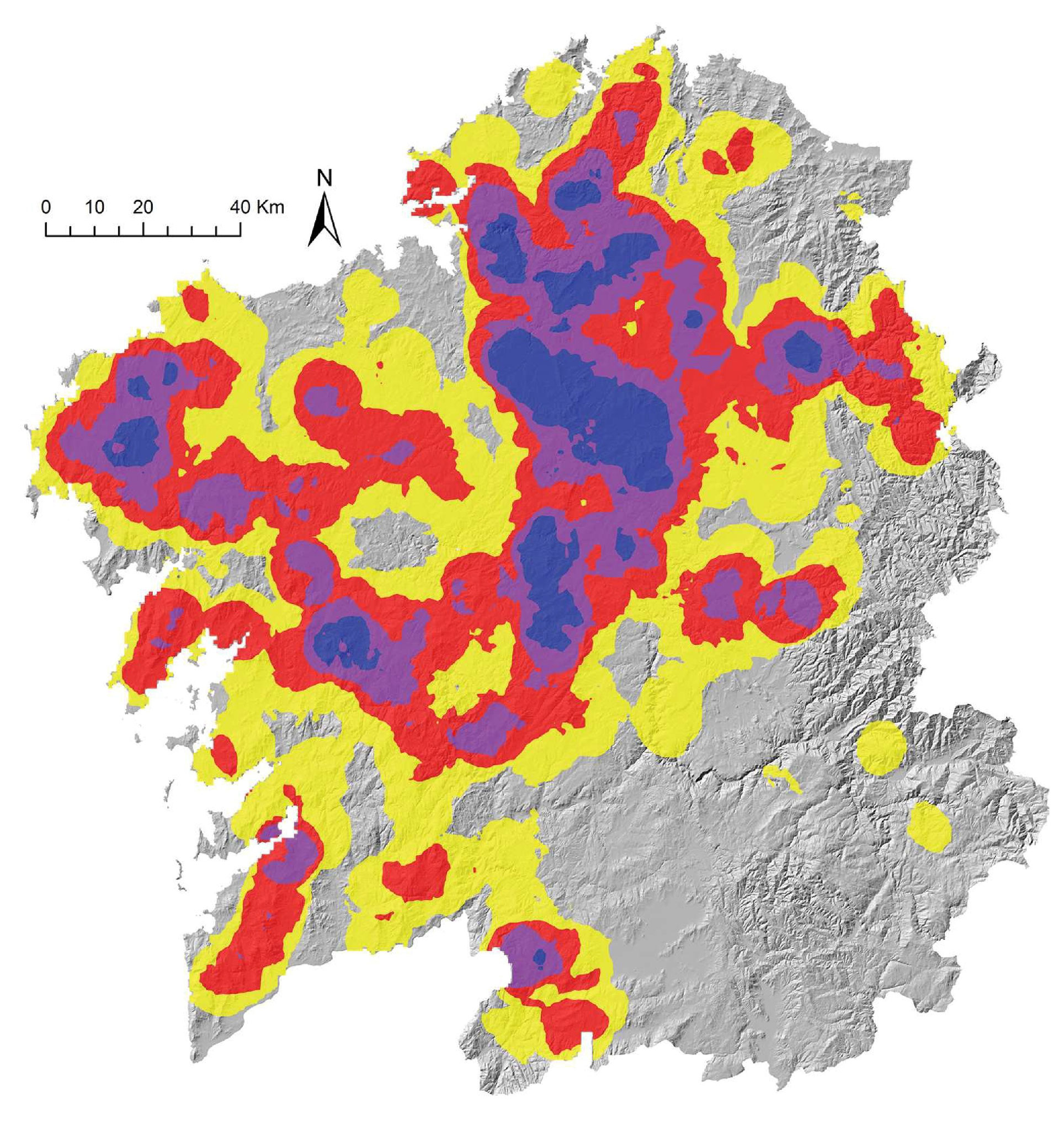 Densidad de túmulos megalíticos de Galicia
