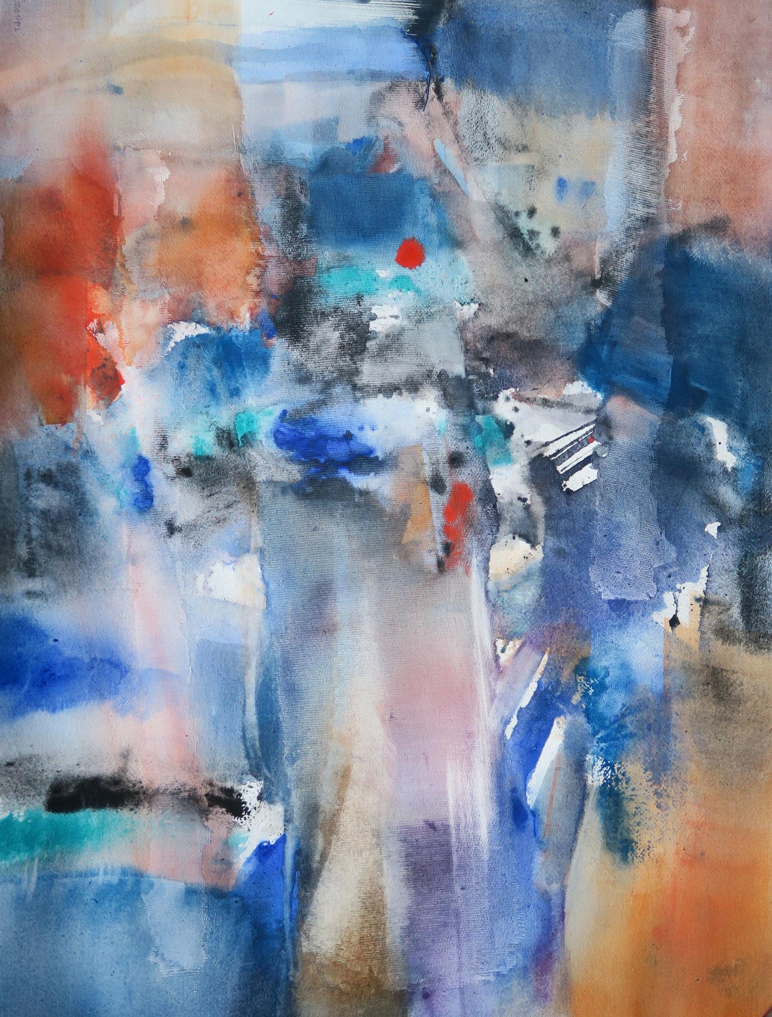 """""""Intervalle"""", 70x50cm, gesso et aquarelle (sur châssis), 2019"""
