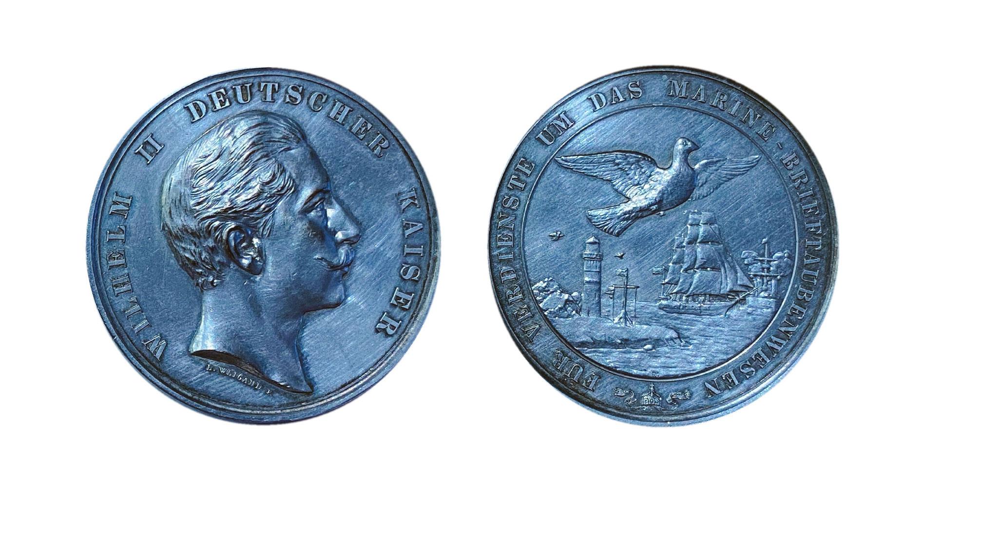 Kaiser Wilhelm II. - Silbermedaille für Verdienste um das Marine-Brieftaubenwesen