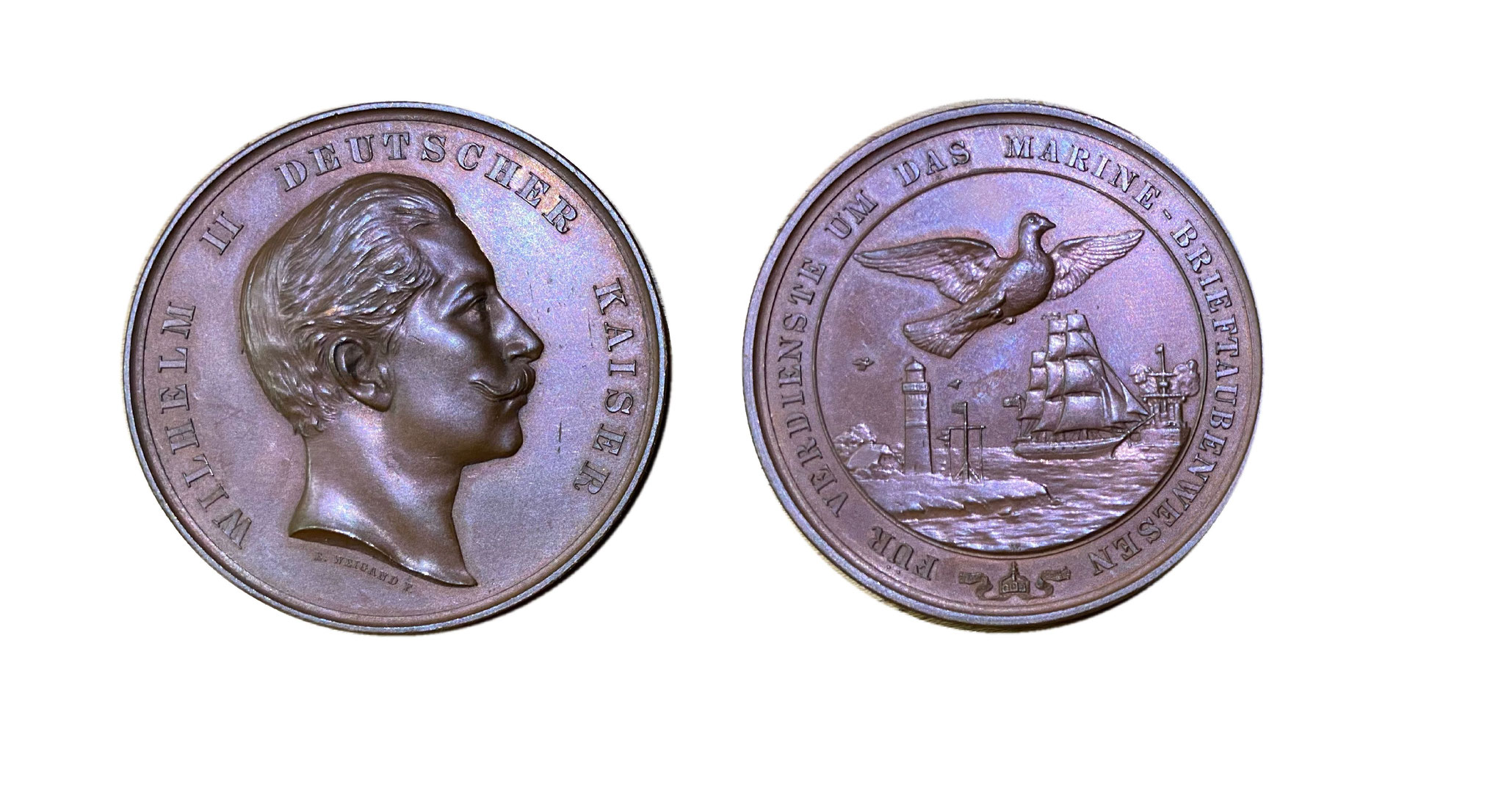 Kaiser Wilhelm II. - Bronzemedaille für Verdienste um das Marine-Brieftaubenwesen