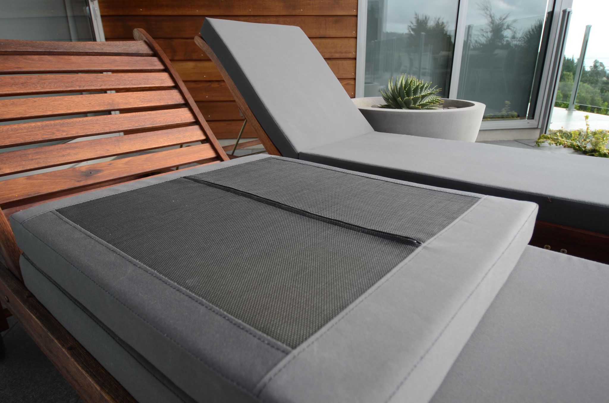 Outdoor Lounger Squabs with draining mesh bottoms