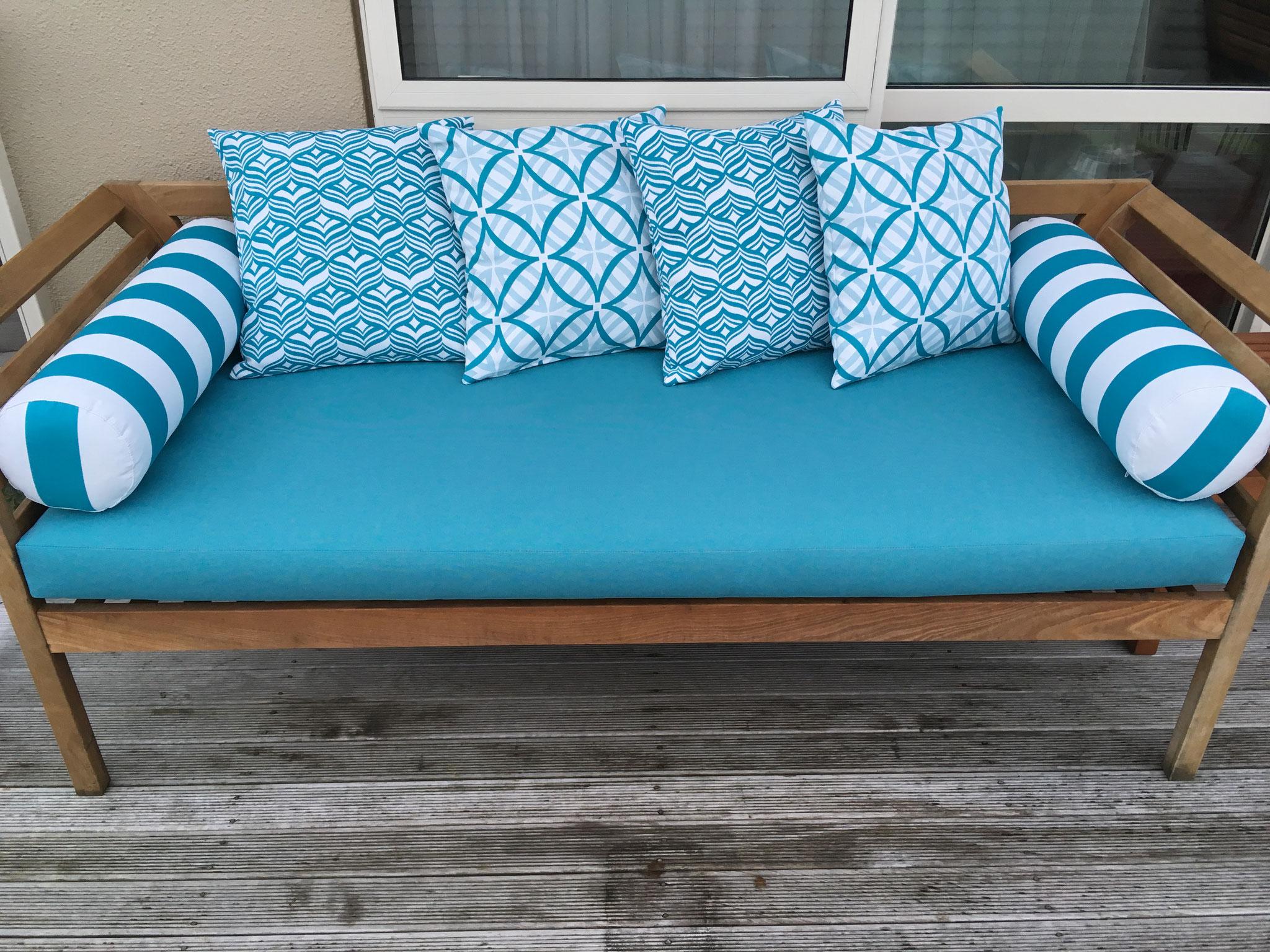 Outdoor squab & cushions - Warwick fabric