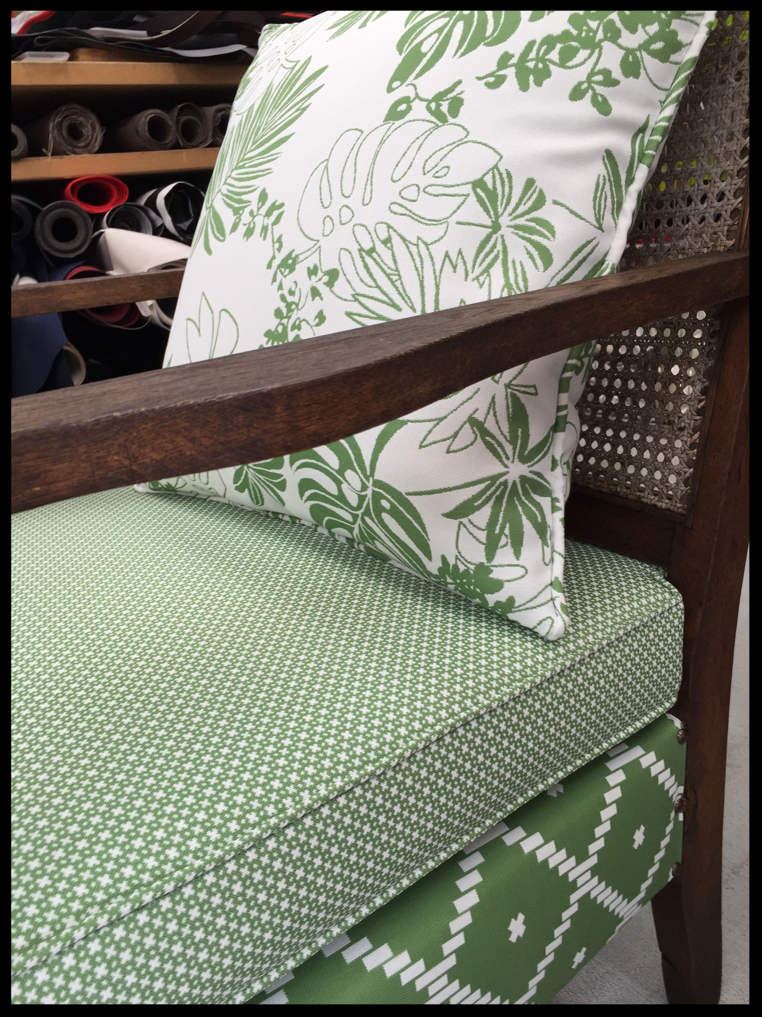 Outdoor fabric on vintage chairs