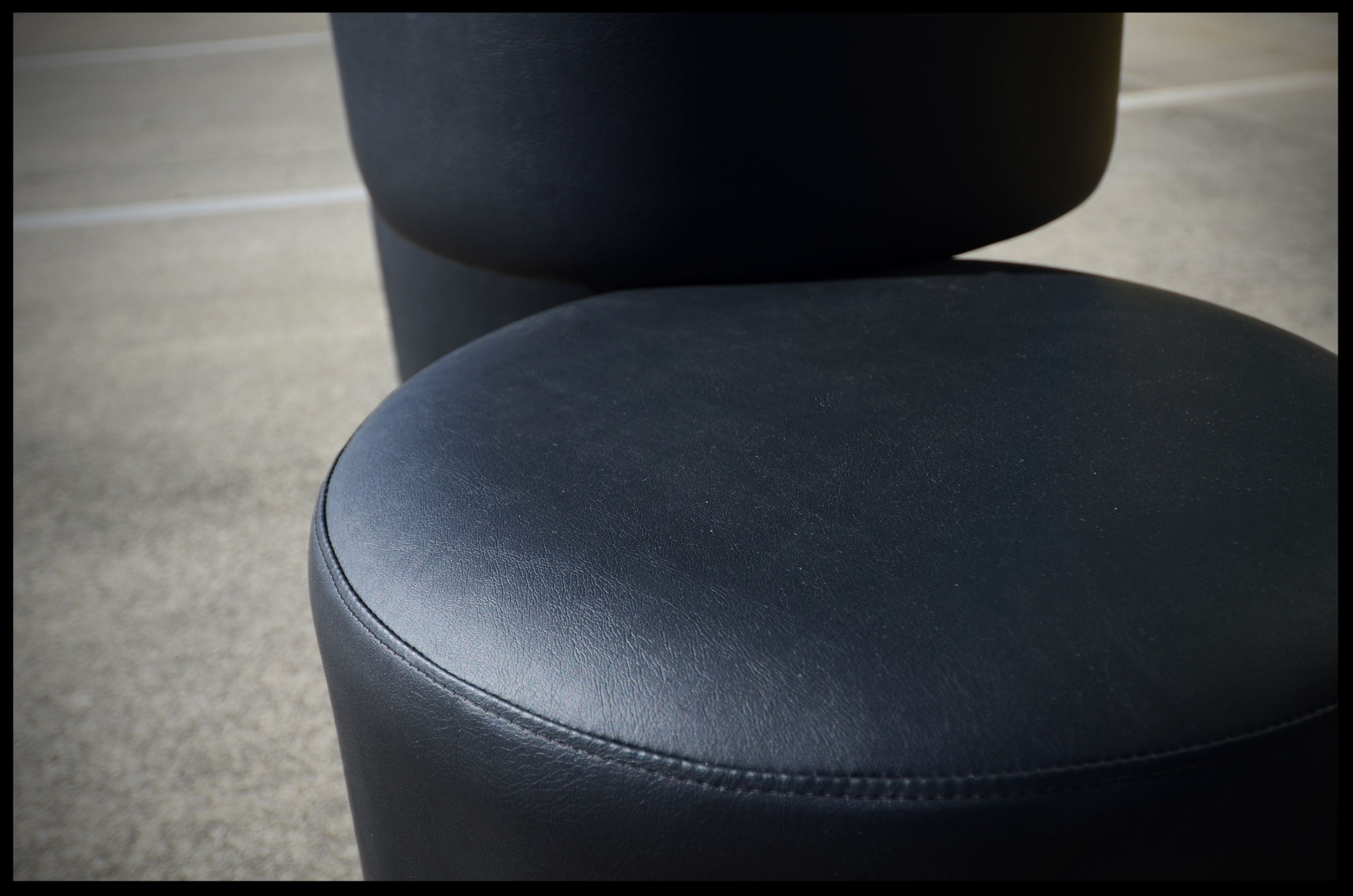 Stools for retail store in black vinyl