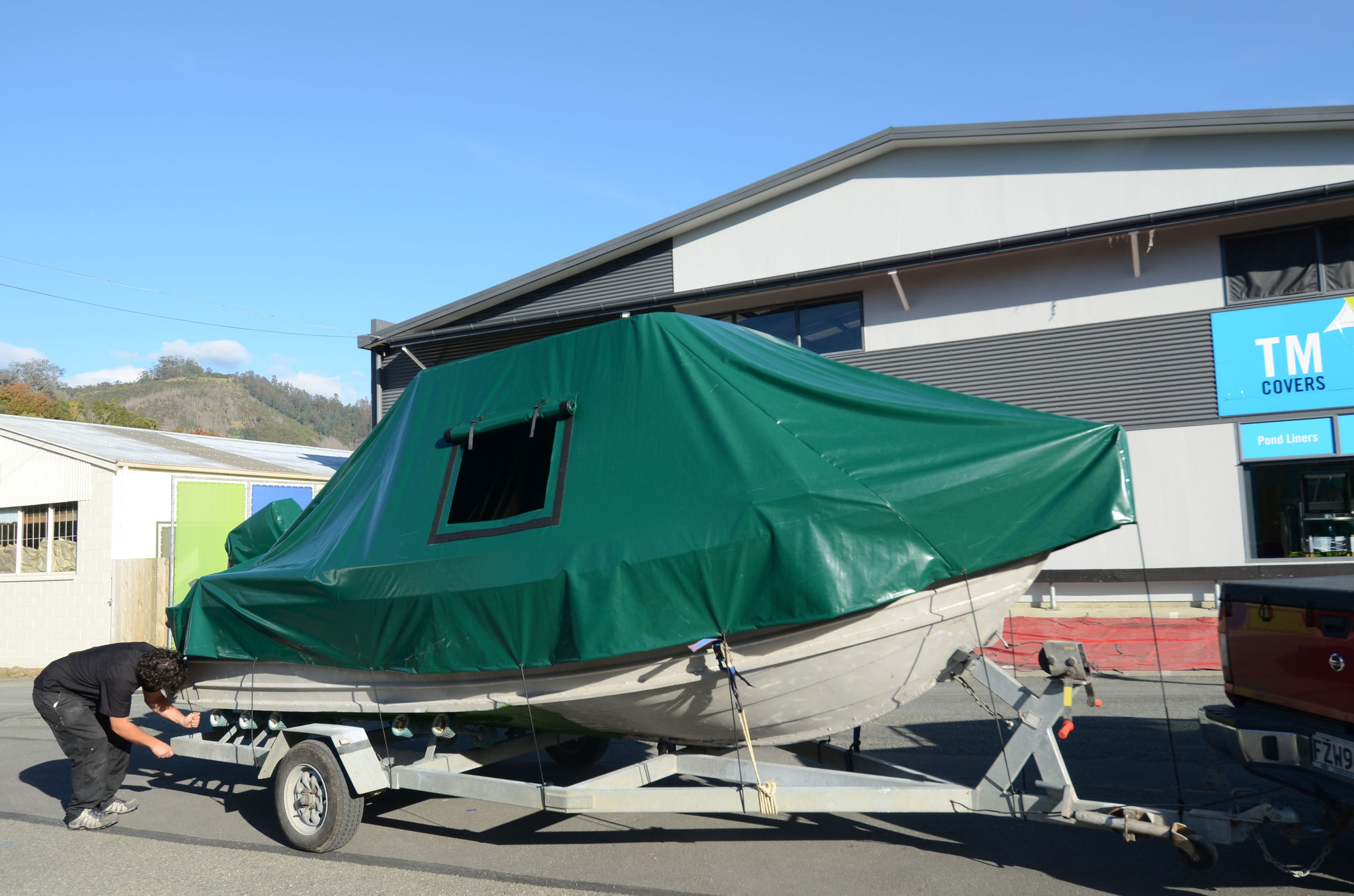 Boat Storage Cover with access hatch, Nelson, New Zealand