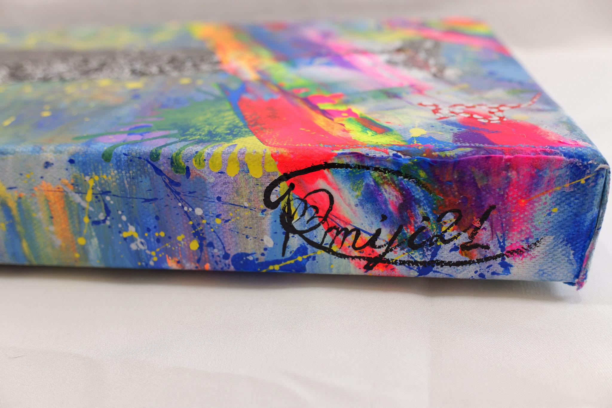 『 kaumudi 〜月光菩薩〜 』acrylic , mixed-media, polycarbonate (mirror) on canvas (60.0cm×20.0cm)