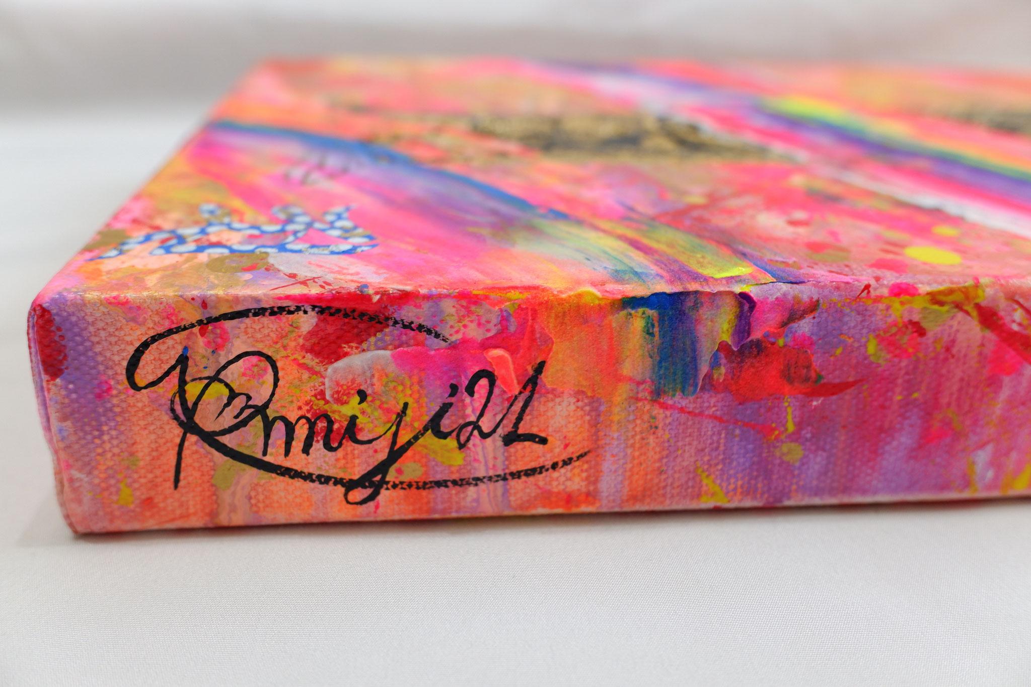 『 amsumat 〜日光菩薩〜 』acrylic , mixed-media, polycarbonate (mirror) on canvas (60.0cm×20.0cm)