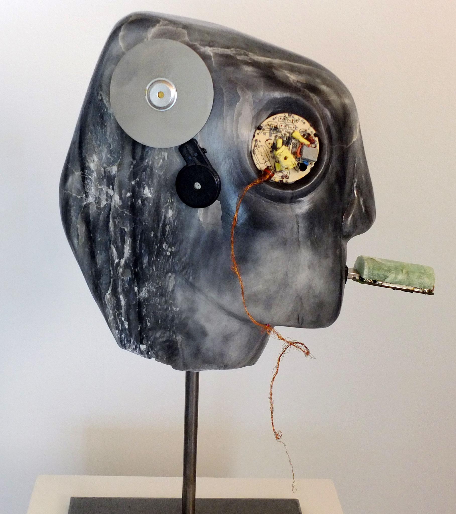 41x32x11 cm, soapstone, e-waste