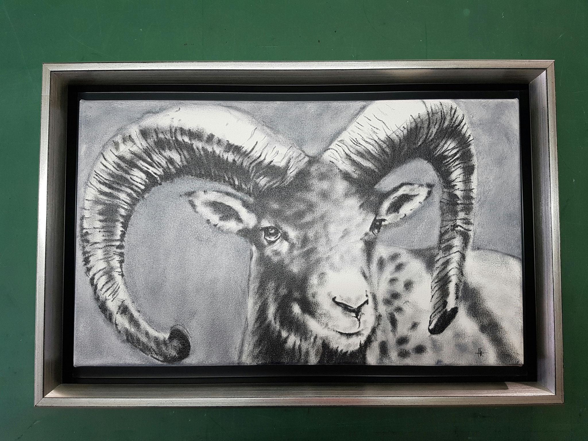 Bild mit Schattenfugenrahmen und Silberrahmen außen