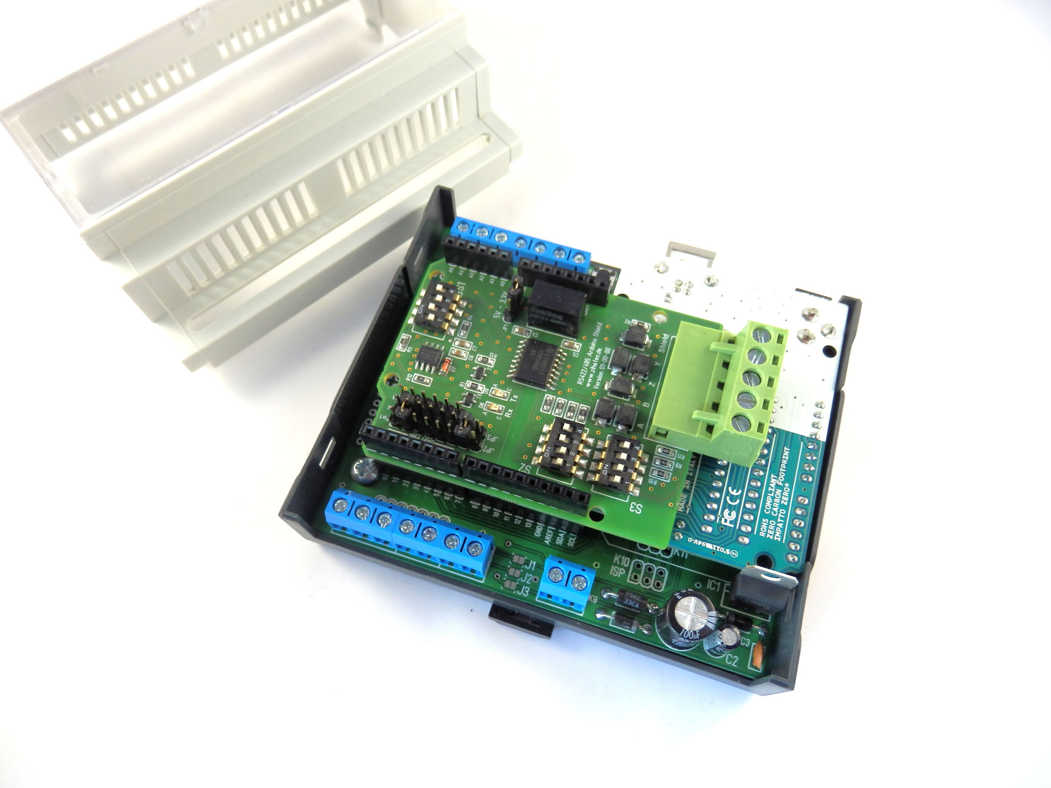 Shield mounted in Arduibox din rail enclosure set