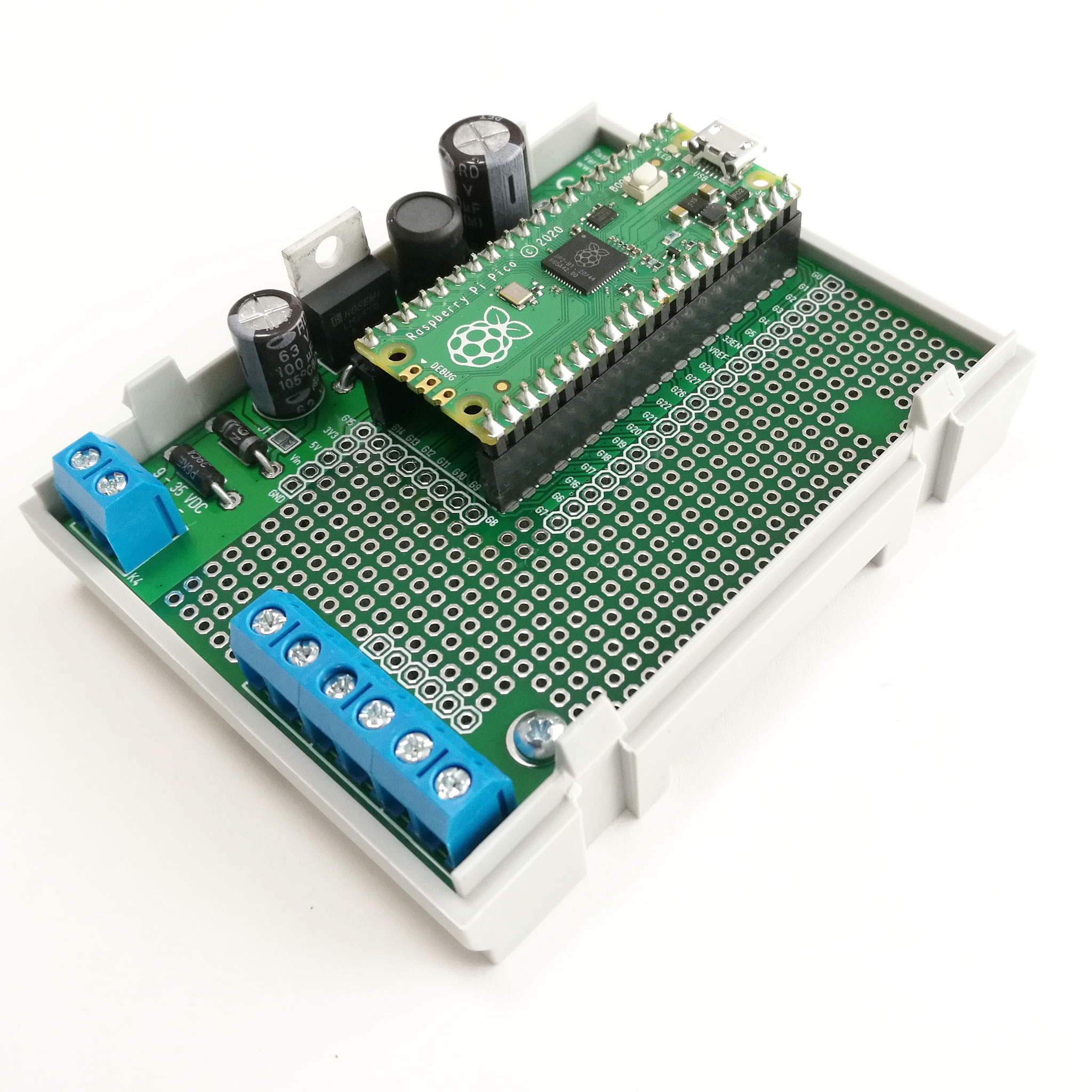 Opened enclosure with mounted Raspberry Pi Pico