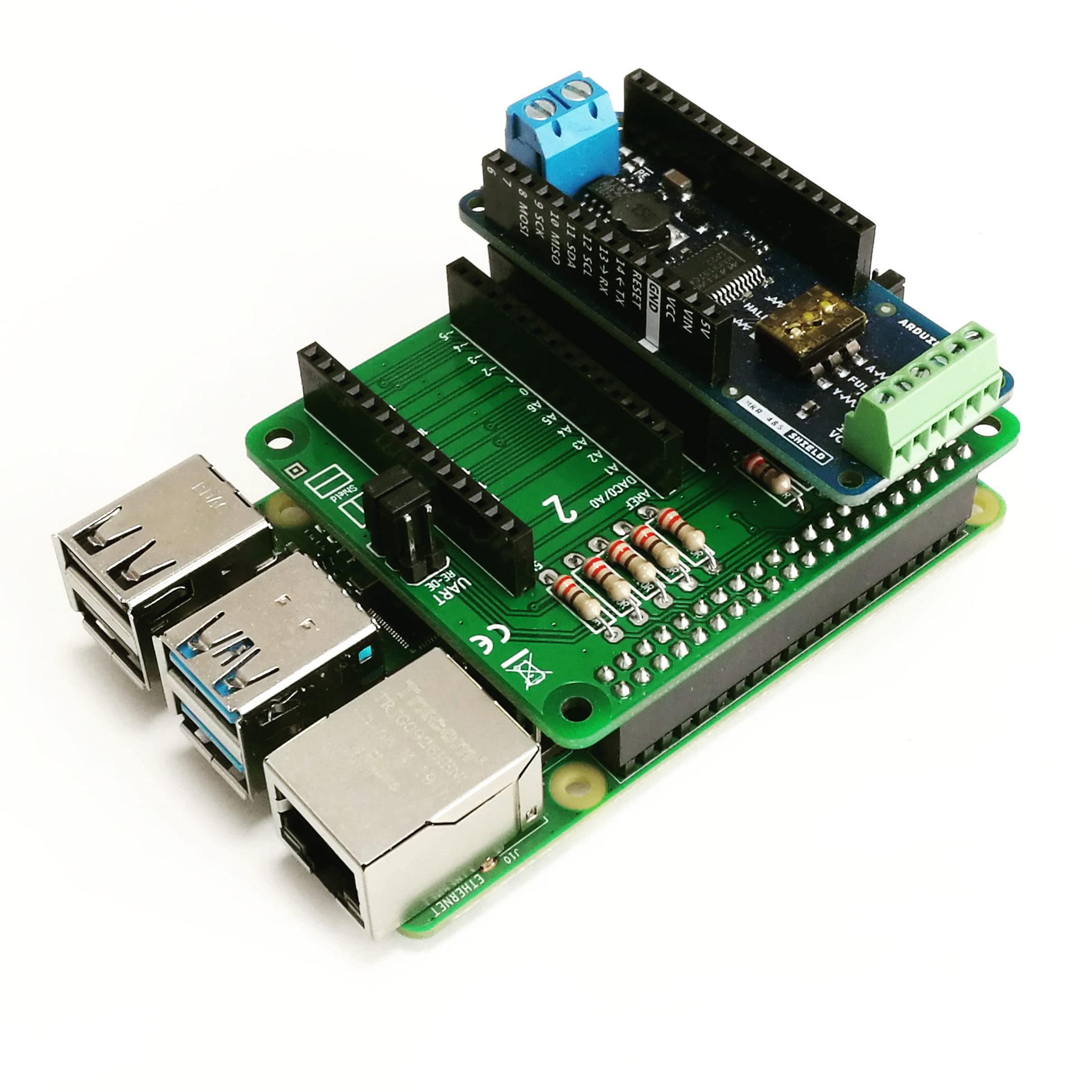 PiMKRHAT mit aufgestecktem Arduino MKR485 Shield