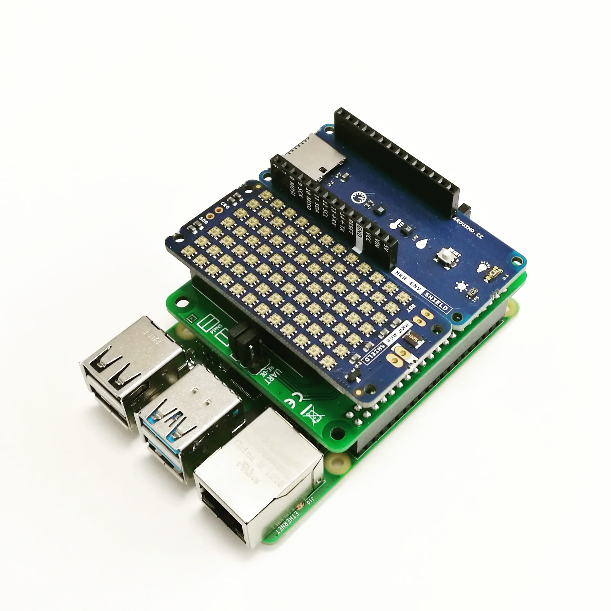 PiMKRHAT with stacked Arduino MKR ENV and RGB Shield