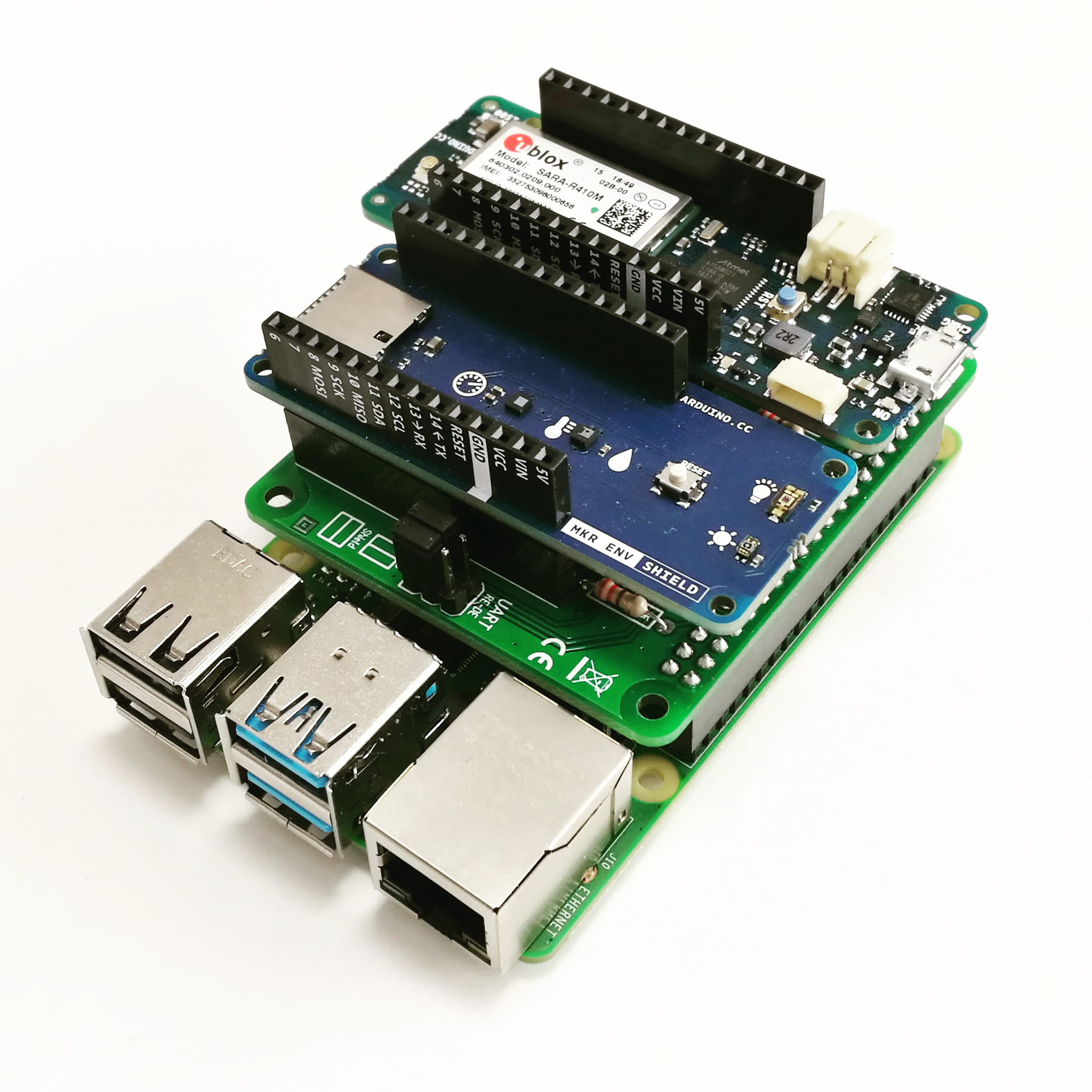 PiMKRHAT with stacked Arduino MKR NB1500 and ENV Shield
