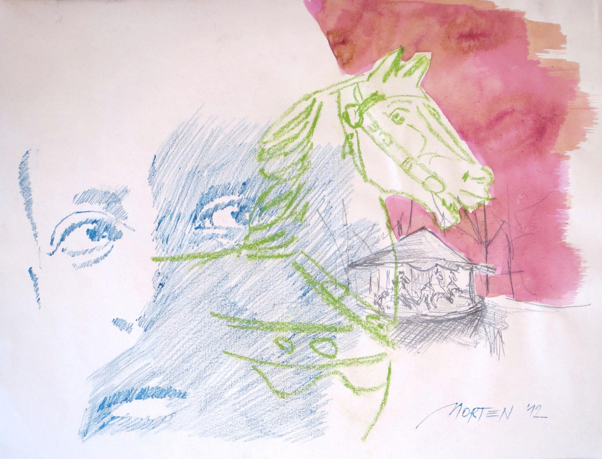 Rainer Maria Rilke: Das Karussell, Zeichnung, 40x60cm, 2012