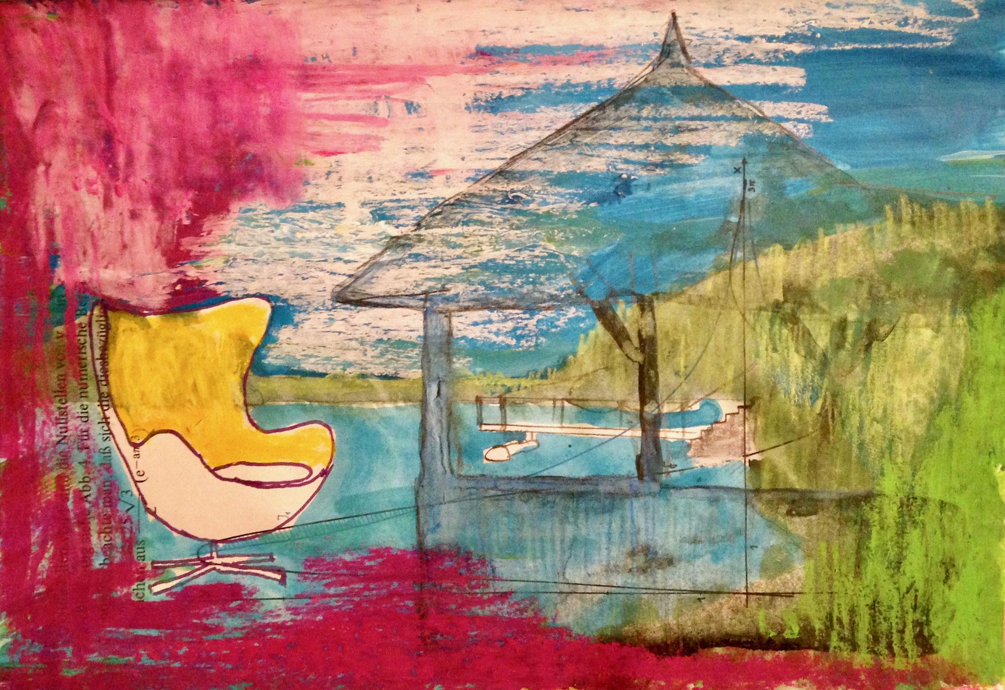 AUF EINMAL UM UNS DAS LEUCHTEN DES HERBSTES , 2016, Johannes Morten, 14,8 x 21 cm, Graphit, Acryl und Ölkreide auf Papier