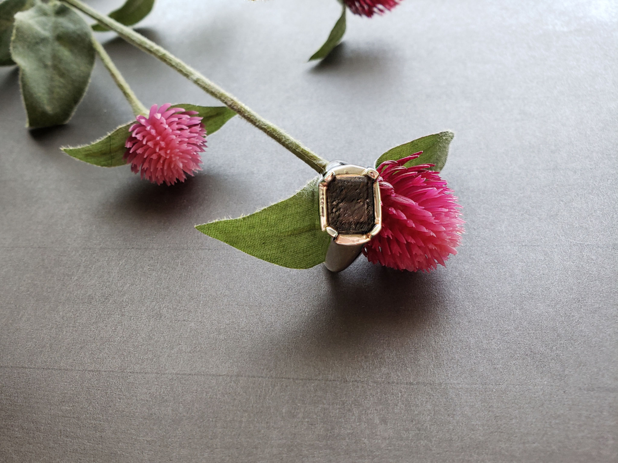 tourmalinated quartz ring in sterling silver
