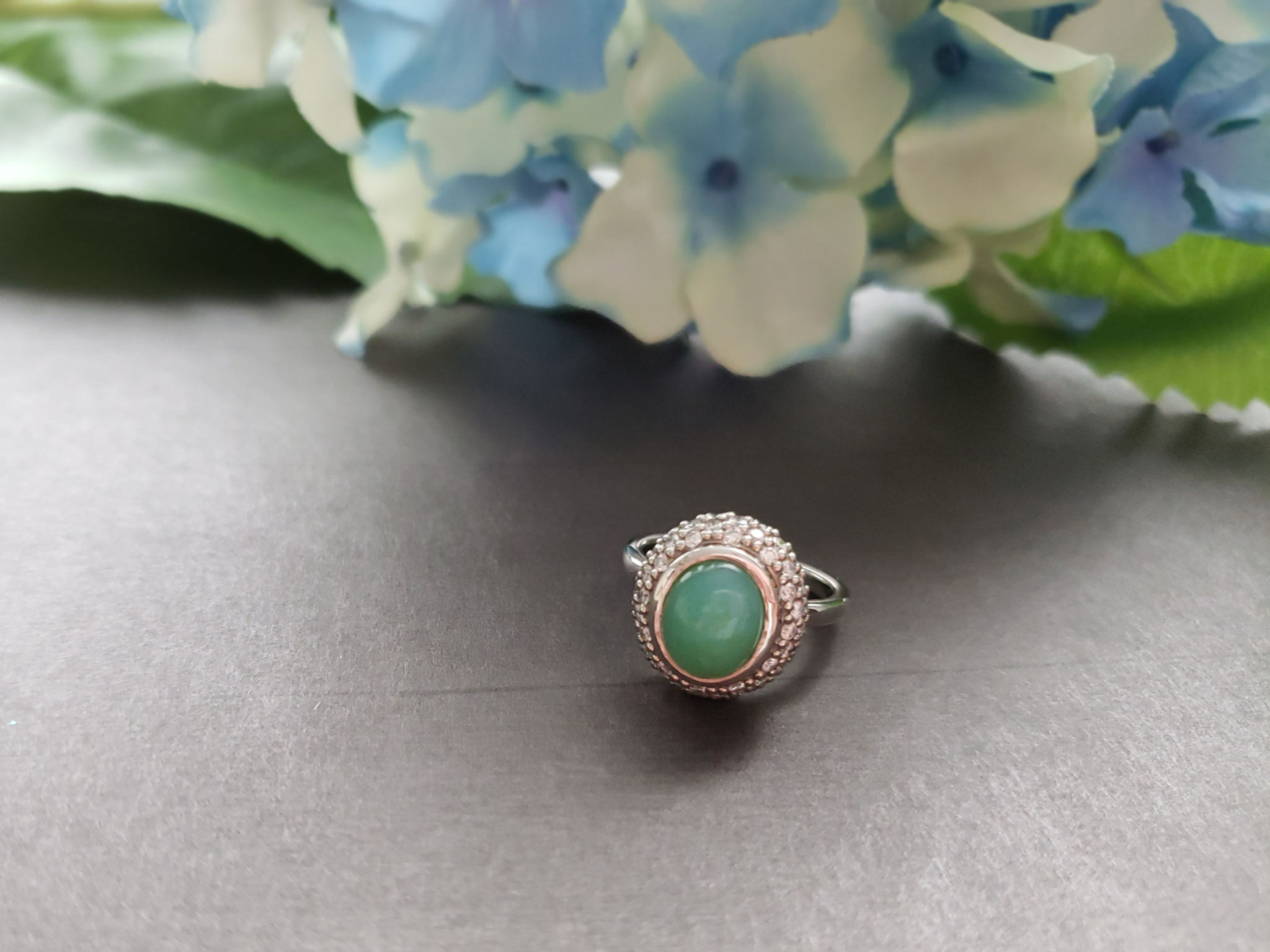 blue opal with pave halo in palladium
