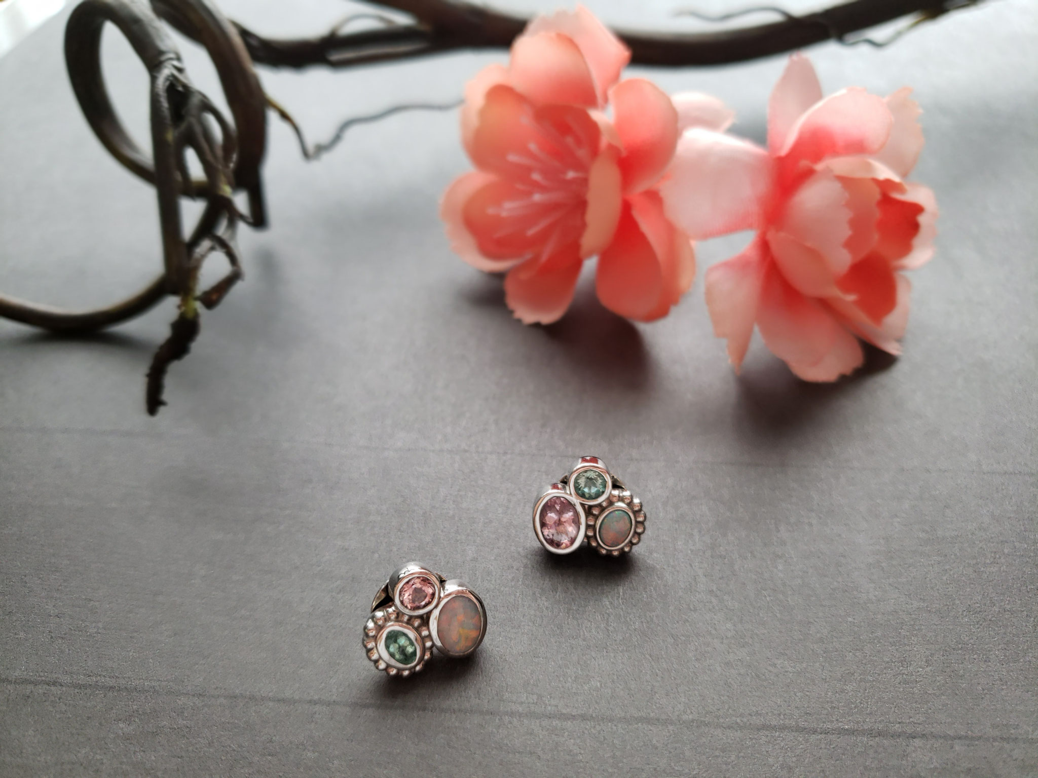 mixed stone cluster earrings in palladium