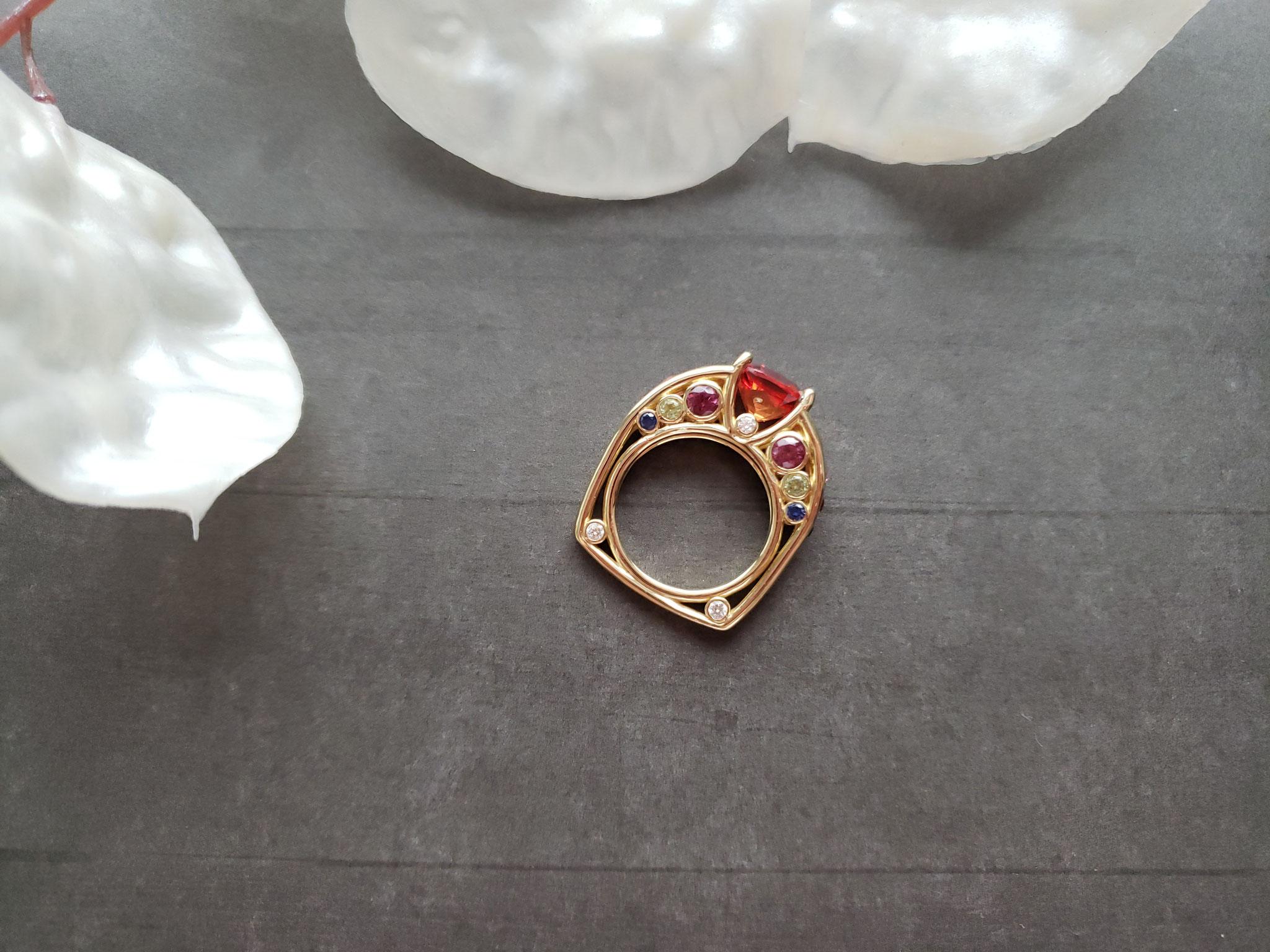 multi-stone orange sapphire ring in 14K yellow gold