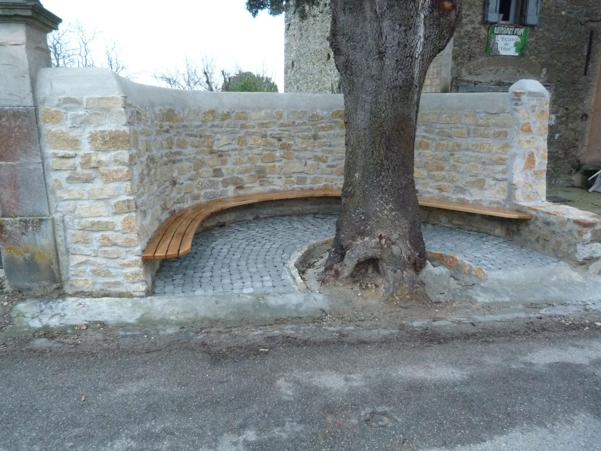 banc en chêne