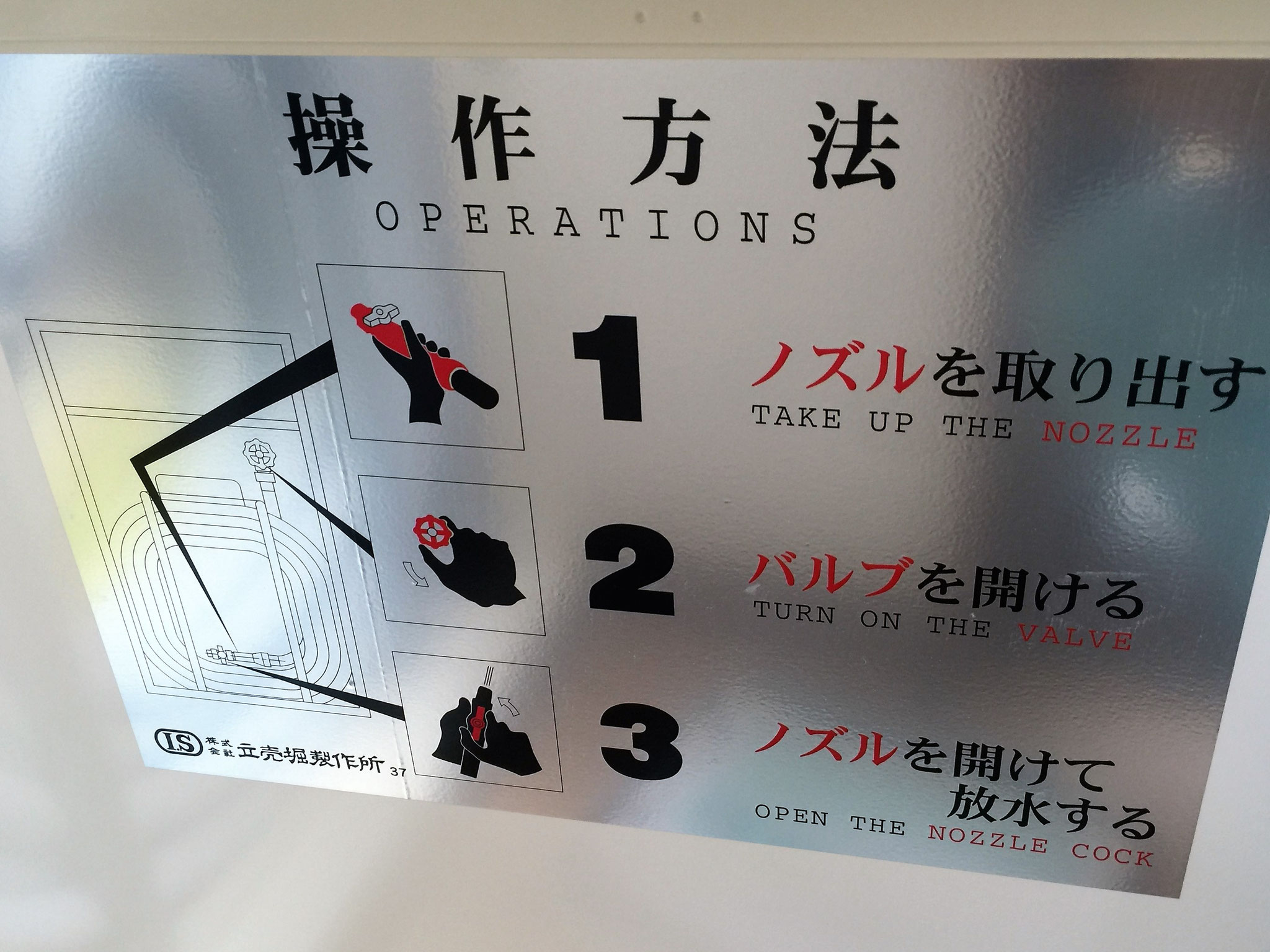 2号消火栓(消火用散水栓)の使用法。
