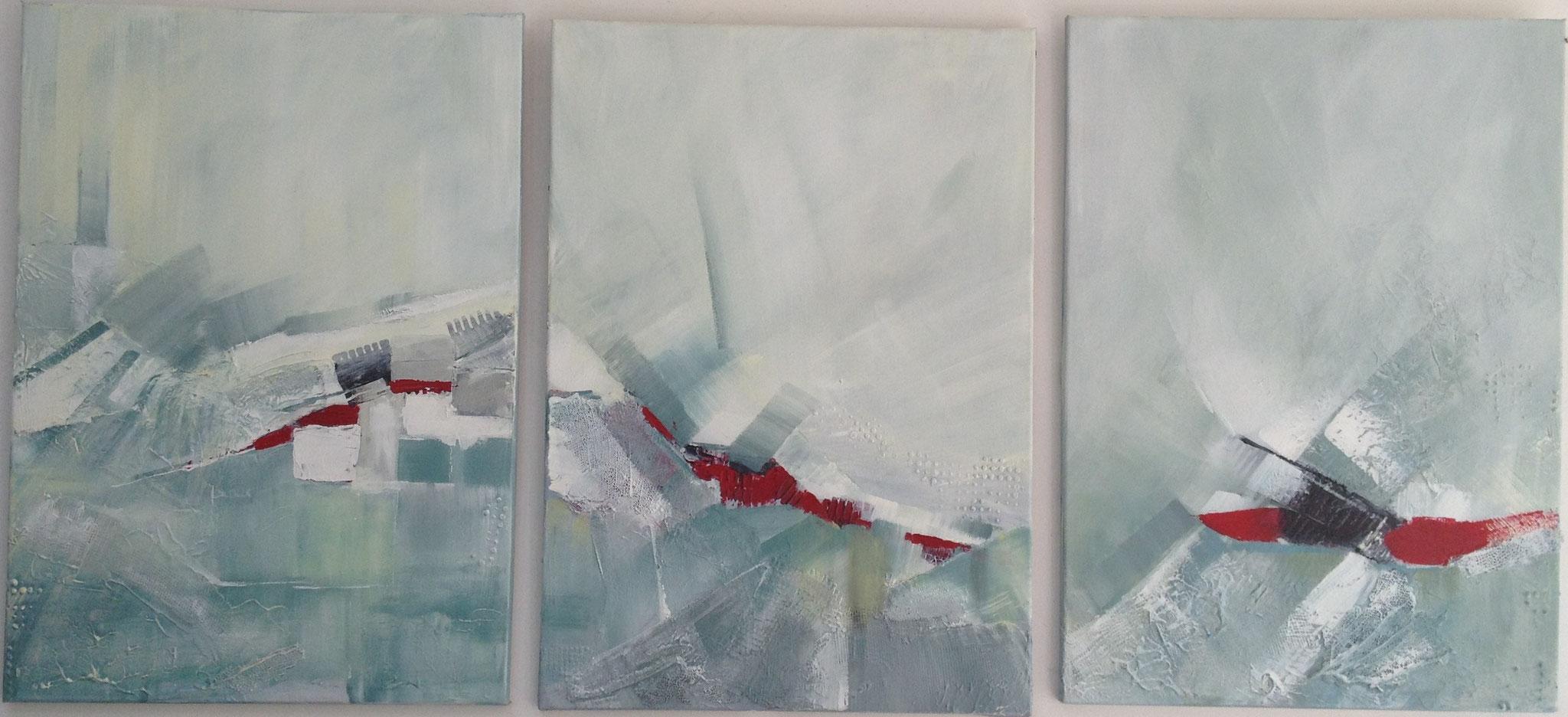 """Hélène FRAYSSE """"Triptyque"""" acrylique"""