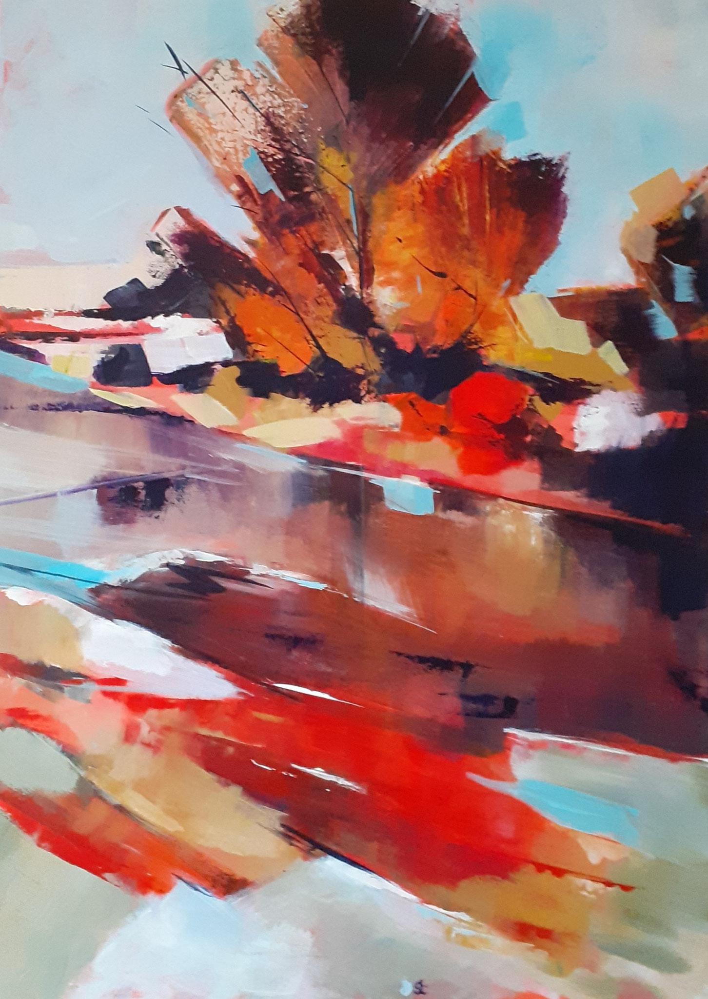 """""""Au bord de l'eau"""" acrylique de Jean Claude SENOT"""