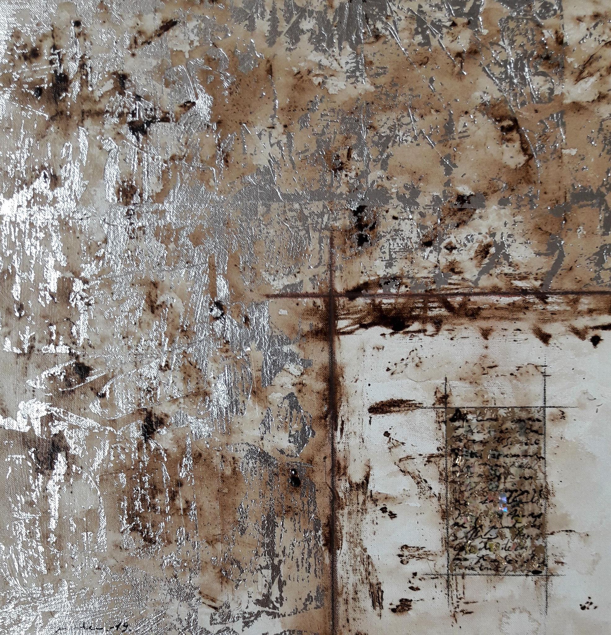 Christophe LEGUIADER (brou de noix, de liant acrylique, de feuilles d'or et d'argent, de collage et d'encre)