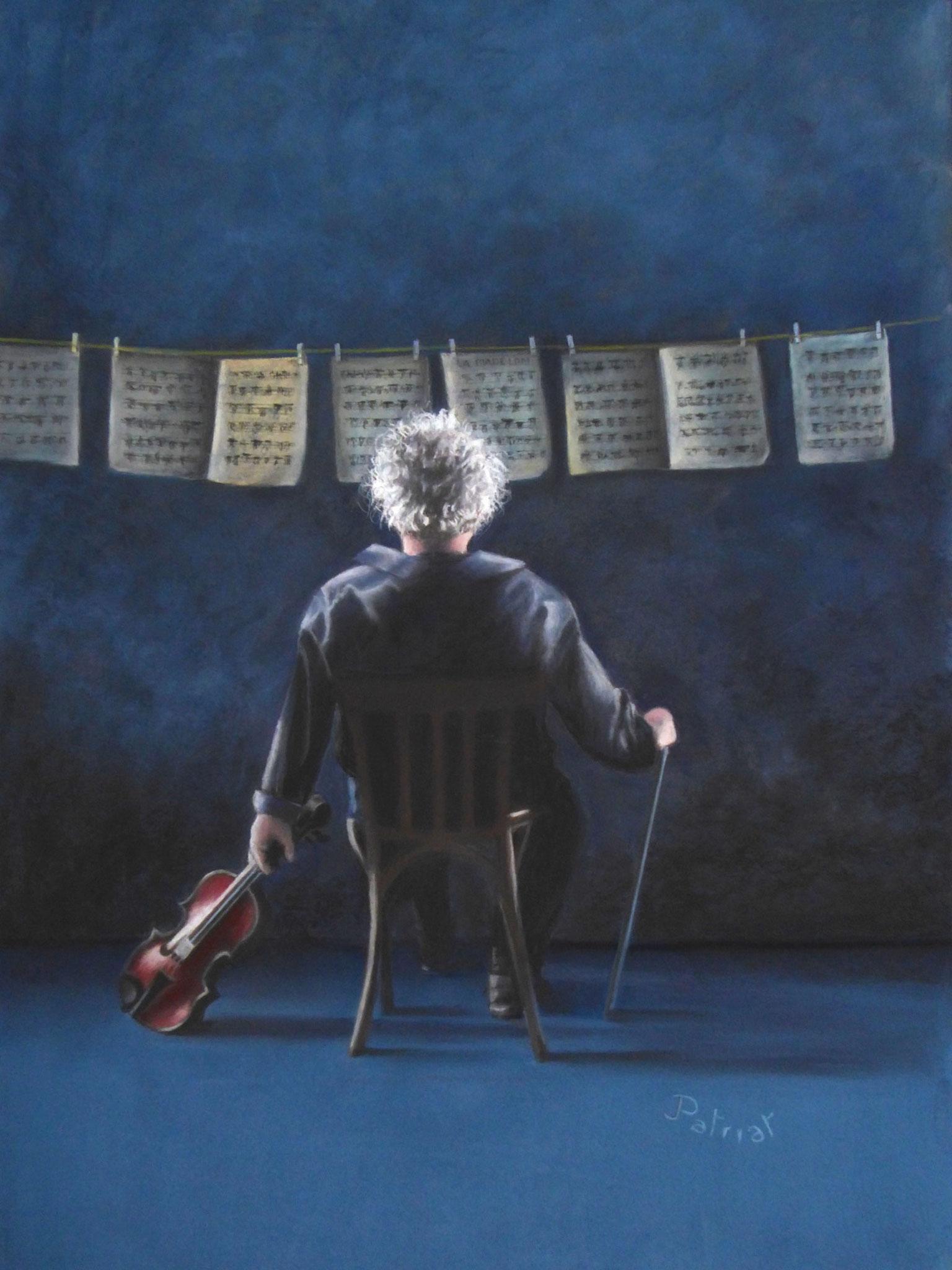"""Songe de musicien"" 80x60 pastel de Jack PATRIAT"
