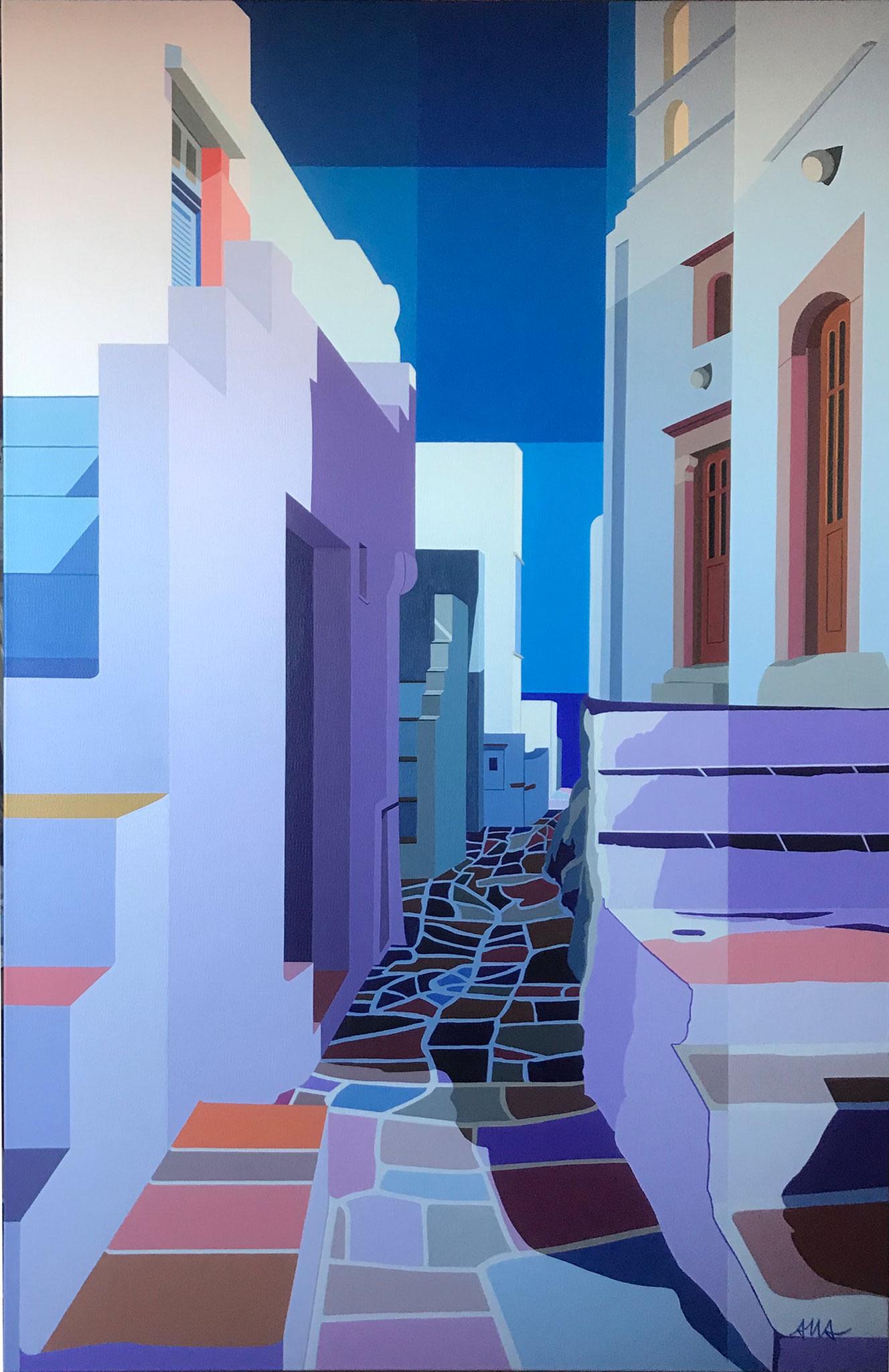 """""""Ile de Sifnos-Grèce"""" Anne-Marie ARETHENS (acrylique) 65x100"""