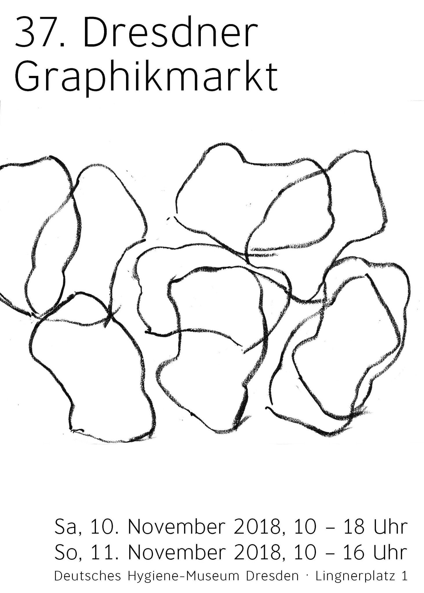 Plakat 37. Dresdner Graphikmarkt 2018, Jana Morgenstern, Algrafie