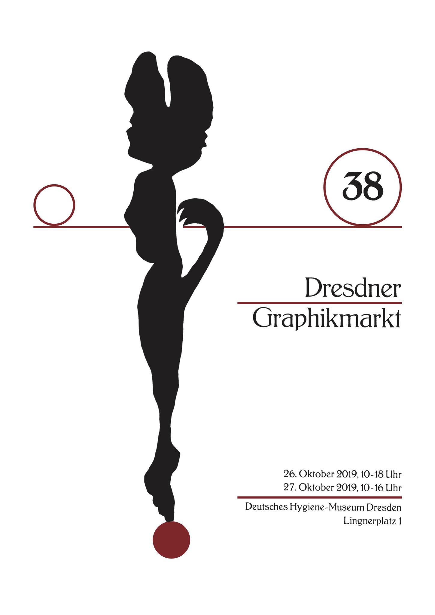 Plakat 38. Dresdner Graphikmarkt 2019, Udo Haufe, Linolschnitt/Buchdruck