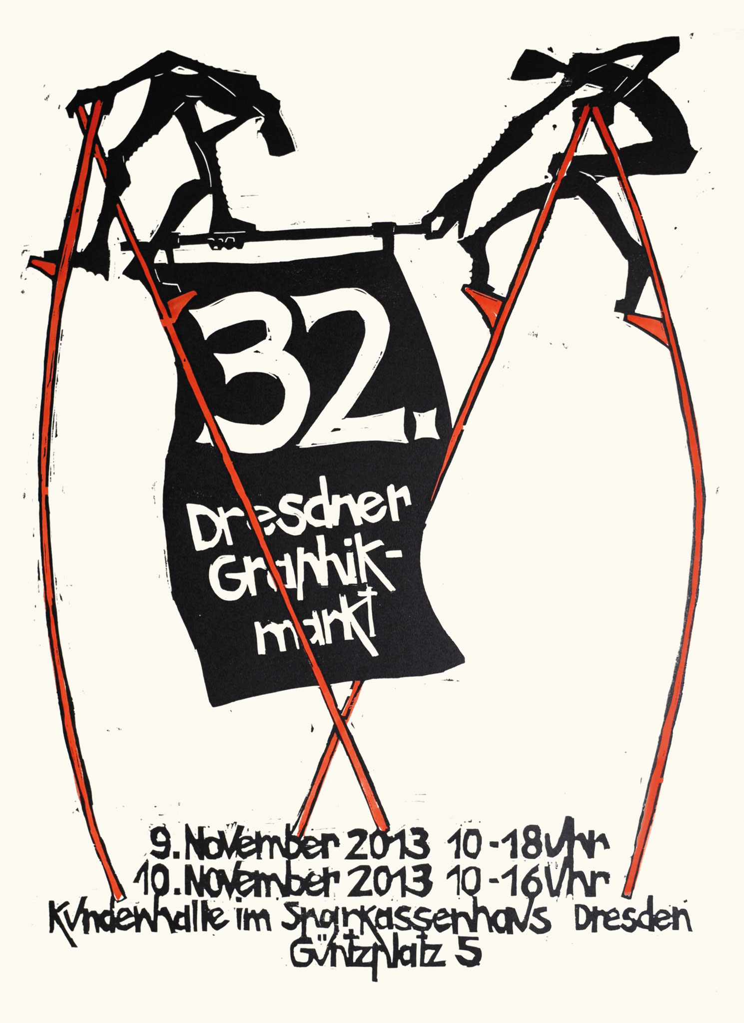 Plakat 32. Dresdner Graphikmarkt 2013, Peter Zaumseil, Holzschnitt