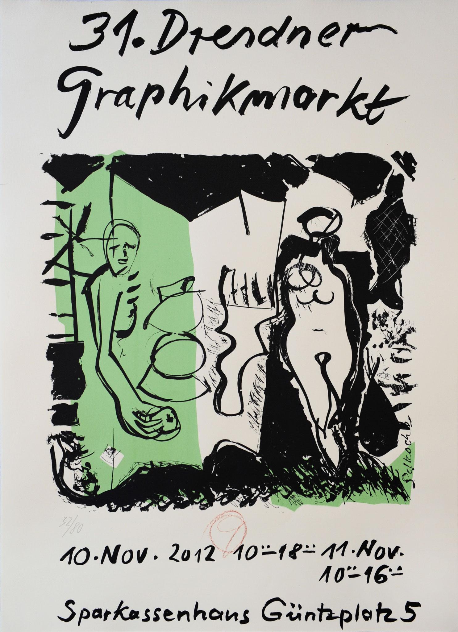 Plakat 31. Dresdner Graphikmarkt 2012, Dieter Goltzsche, Serigrafie
