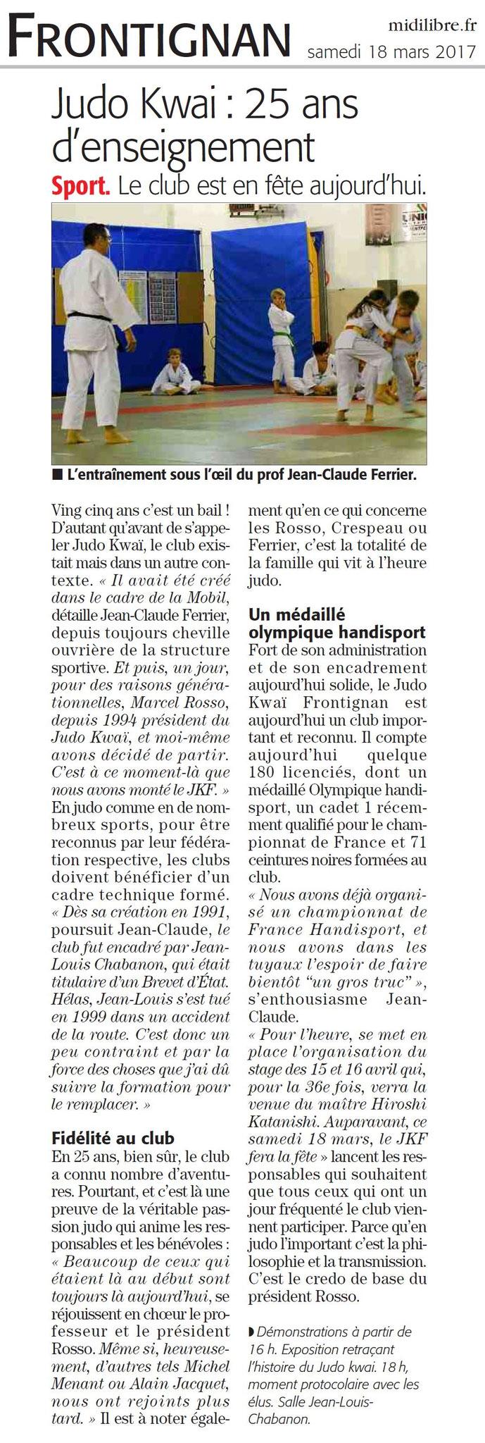 18 Mars 2017 (Midi Libre): Interview avant l'Anniversaire du Quart de Siècle