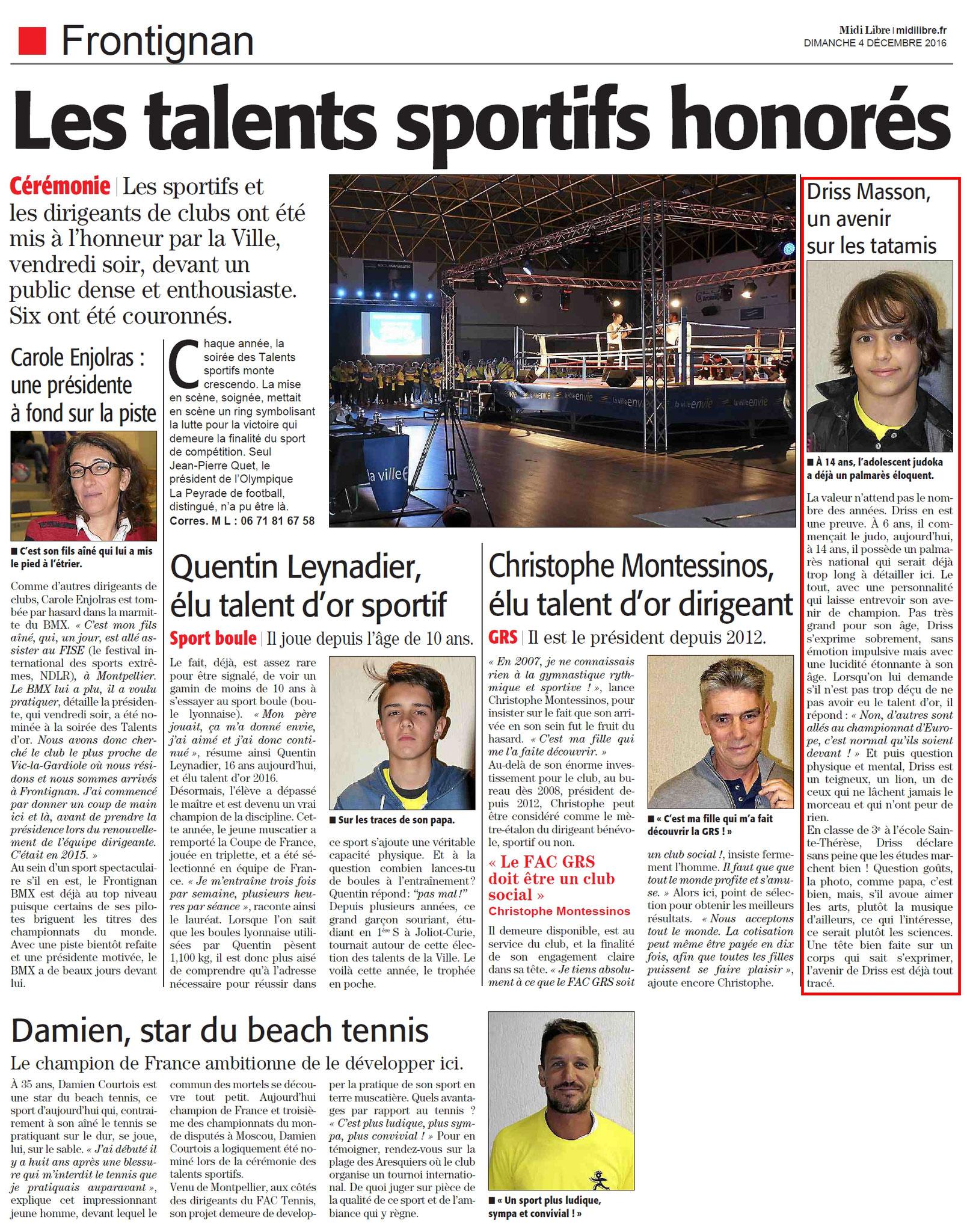 04 Décembre 2016 (Midi Libre): Soirée des Talents Sportifs