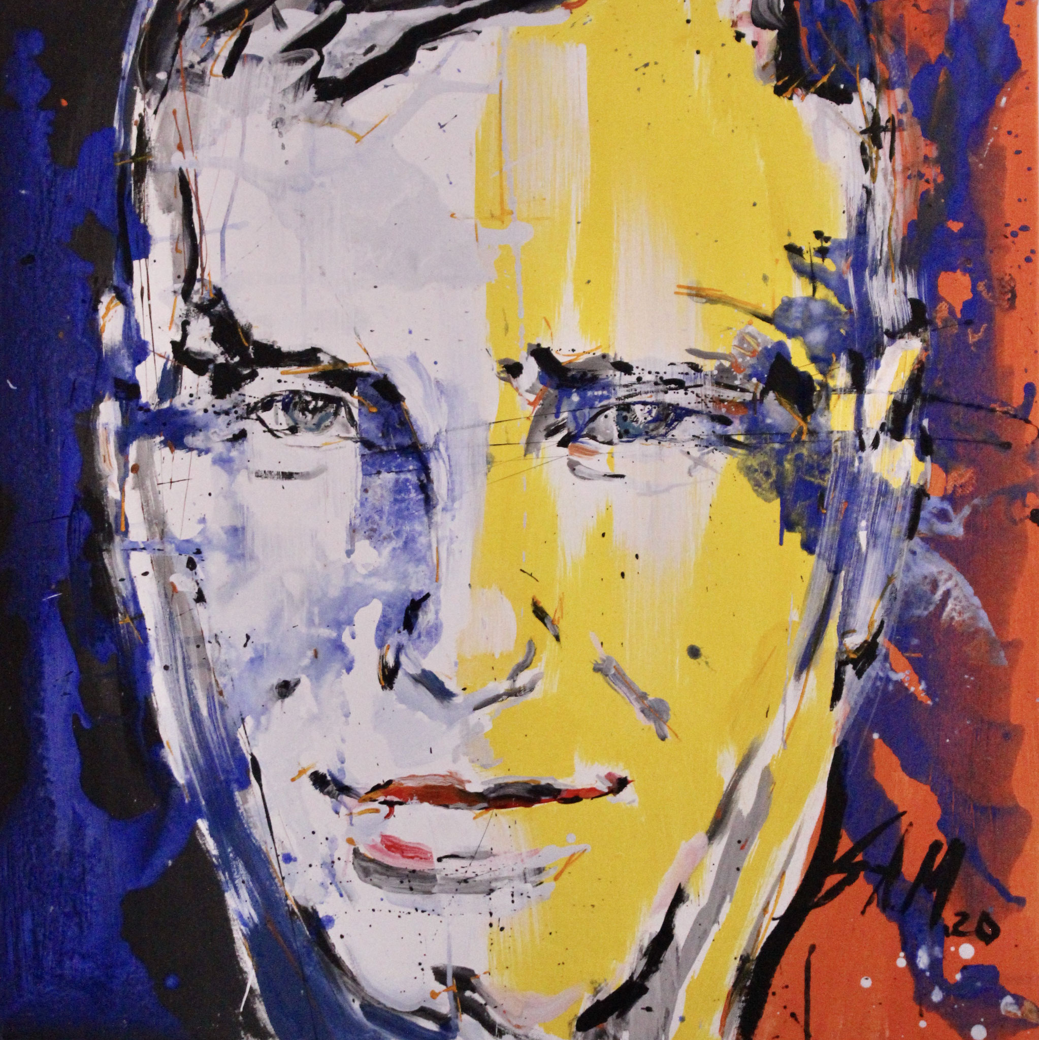 "Portrait of a friend,""Milo"", mixed media on canvas, 2020, 80cm x 80cm"