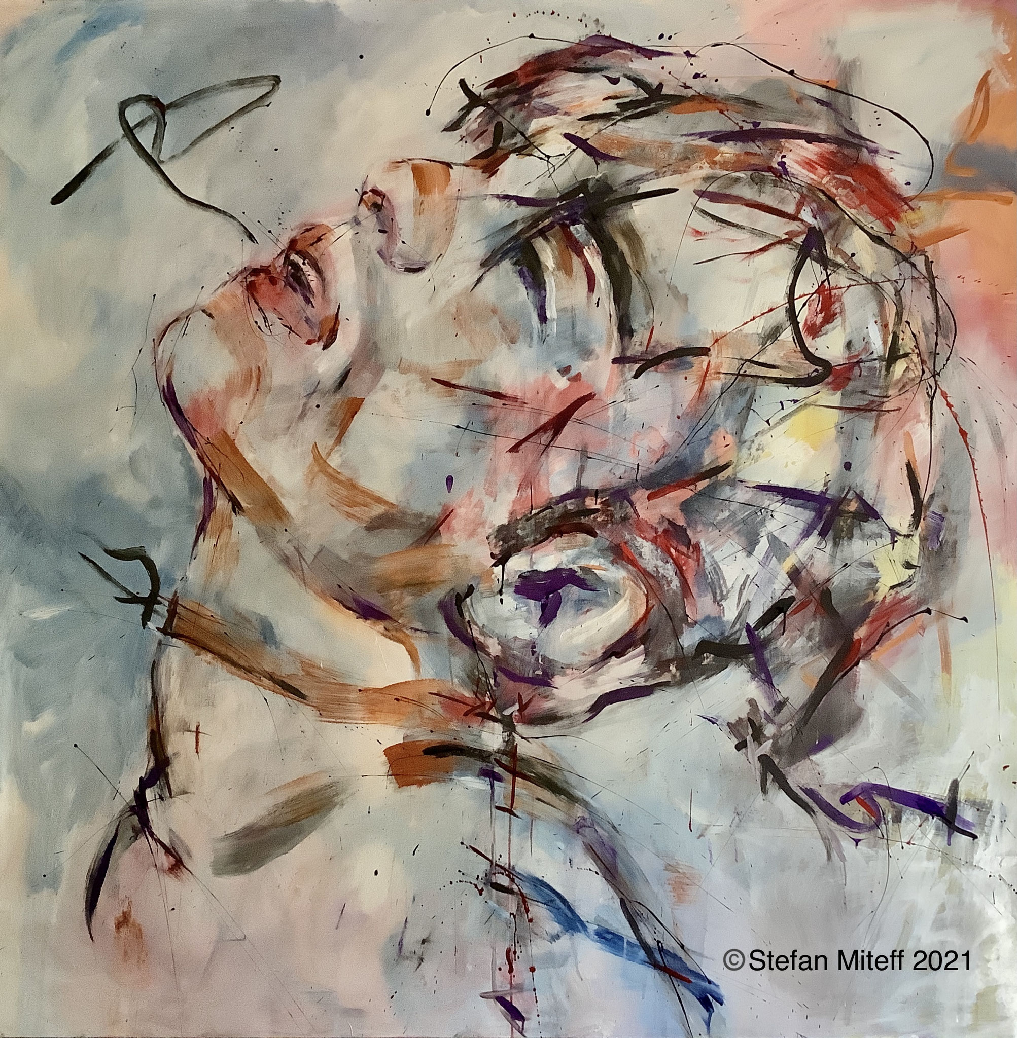 """ohne Titel"", 2021, 200cm x 200cm, Mixed Media On Canvas, ©️Stefan Miteff 2021"