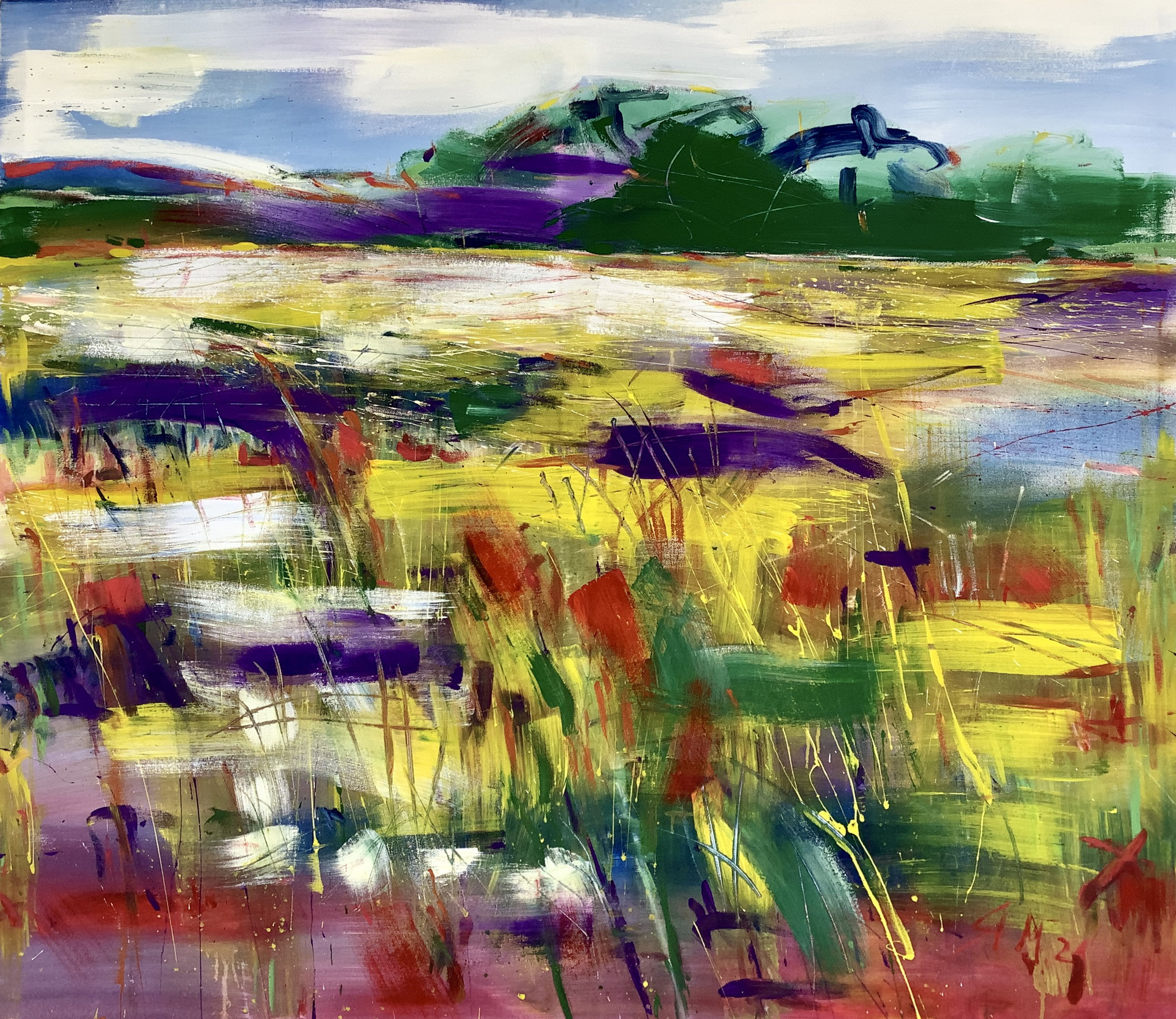 """""""Landschaft mit Wildblumenfeld"""", 119cm x 139cm, Mixed Media On Canvas, ©️Stefan Miteff 2021"""