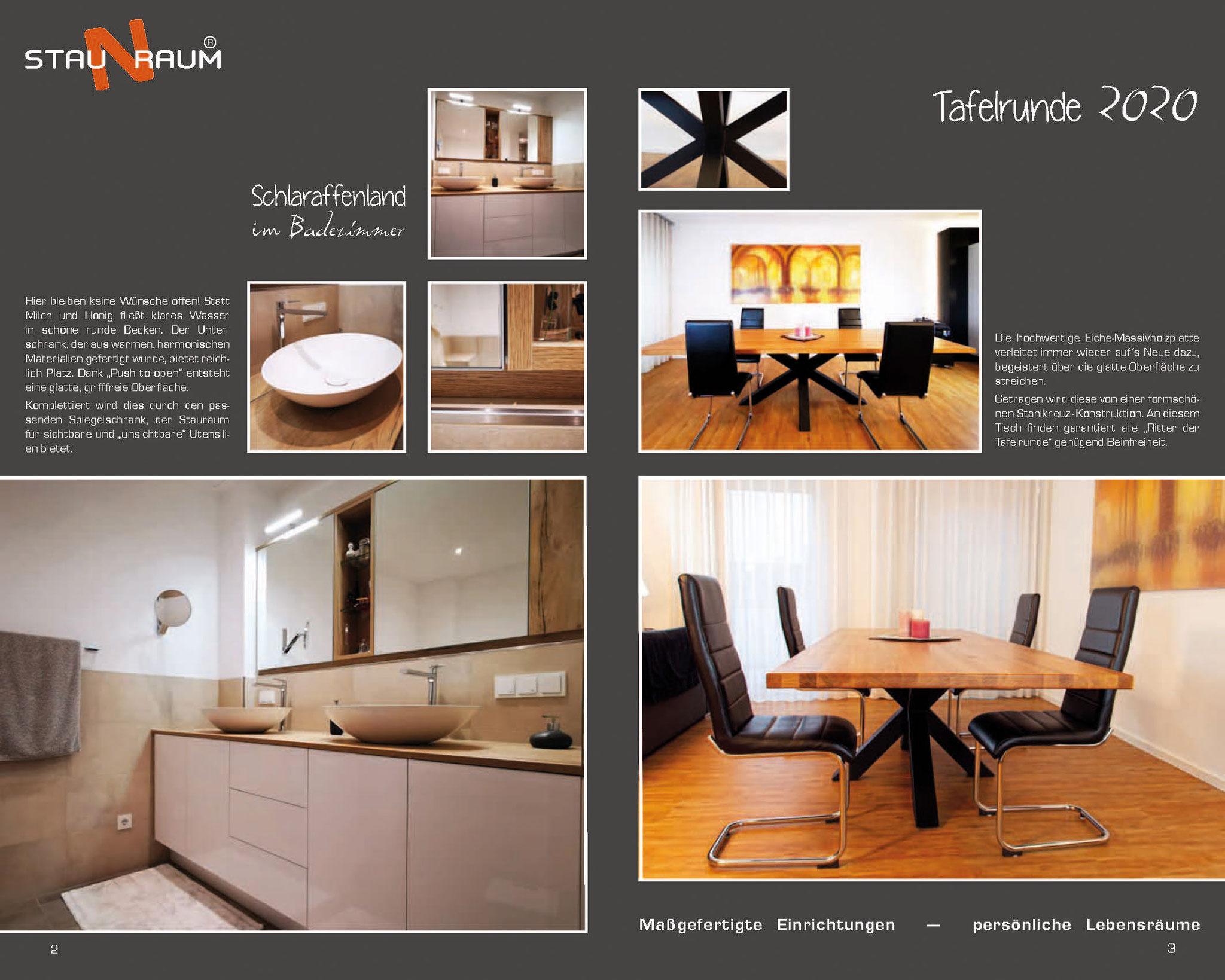 Prospekt 2020, S.2 Bad Möbel, S.3 Tisch im Industie-Design