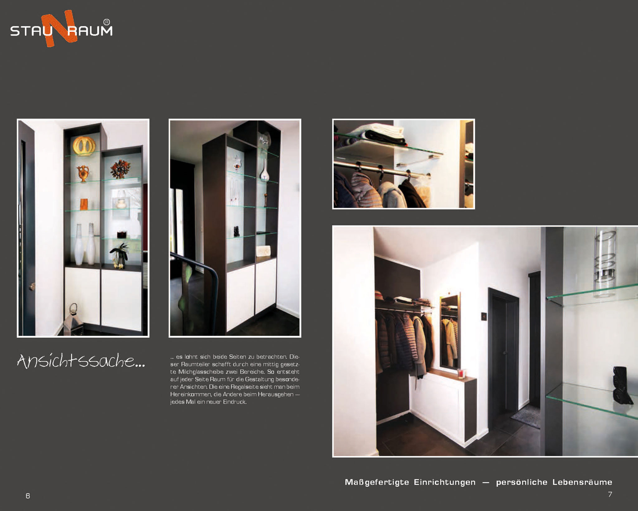 Broschüre 2020, S.5 u.6, Hauseingang Trennregal und Garderobe