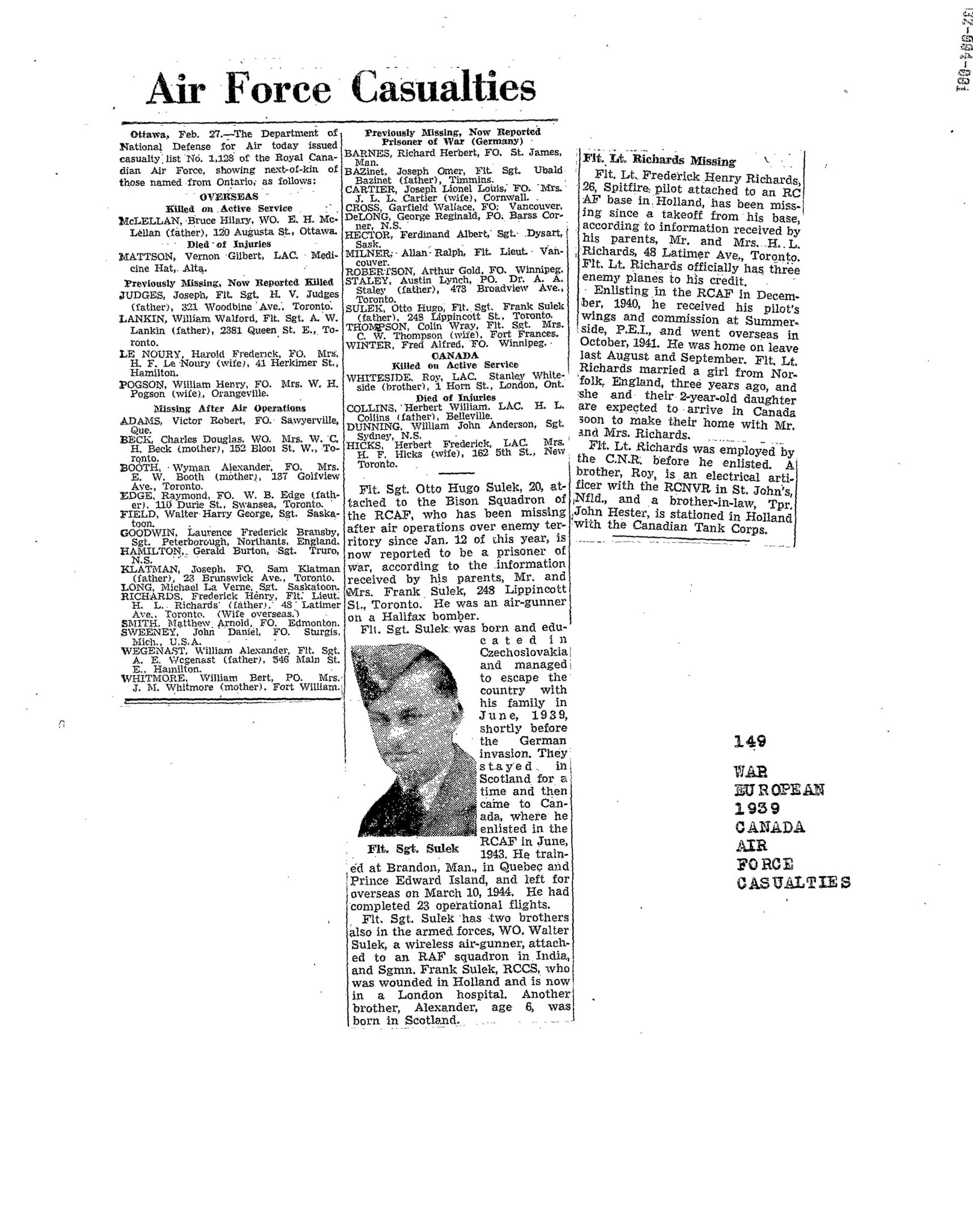 Globe and Mail 28-2-1945