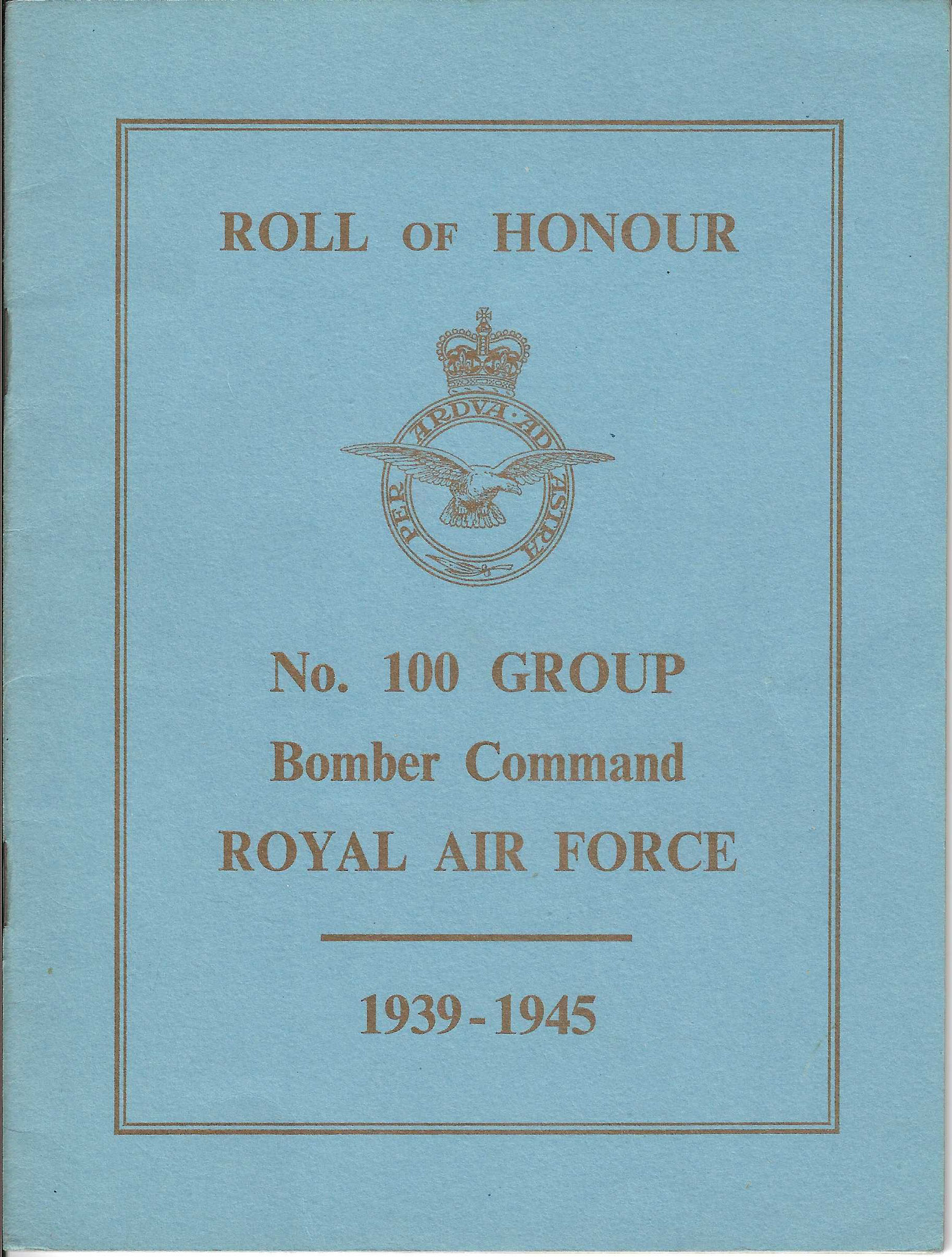 Roll of Honour, No.100 Group Bomber Command, Royal Air Force, 1955 (collection P. Reinders)