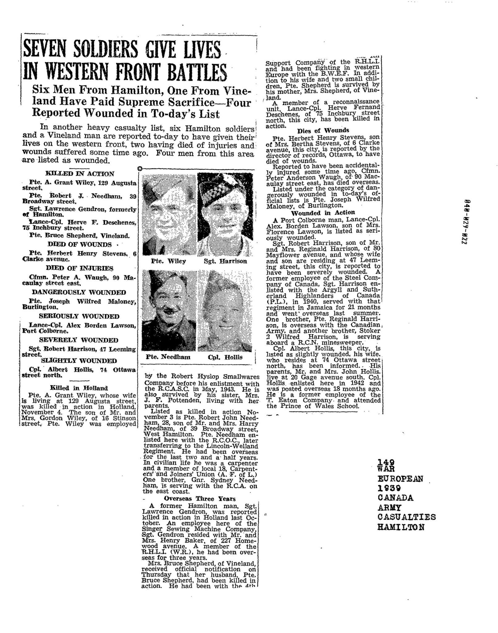 Hamilton Spectator 11-11-1944