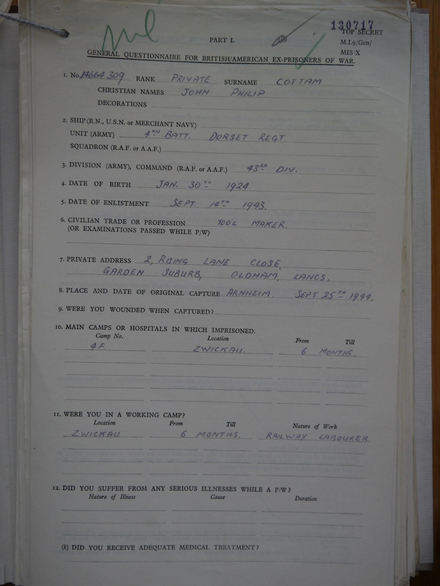 Private J.P. Cottam