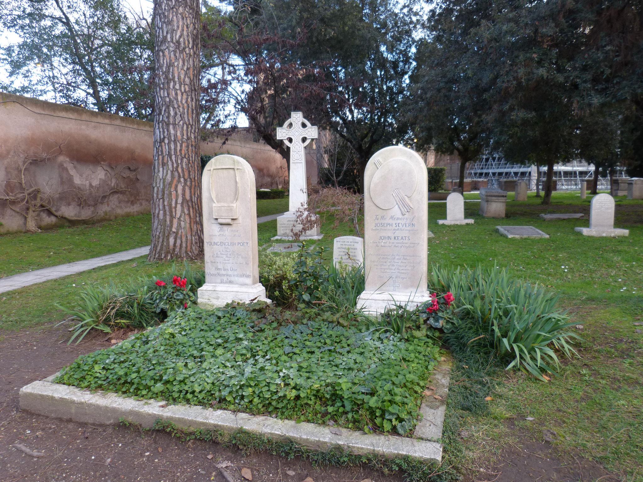 Die Gräber von den englischen Dichtern Keats und Shelley.
