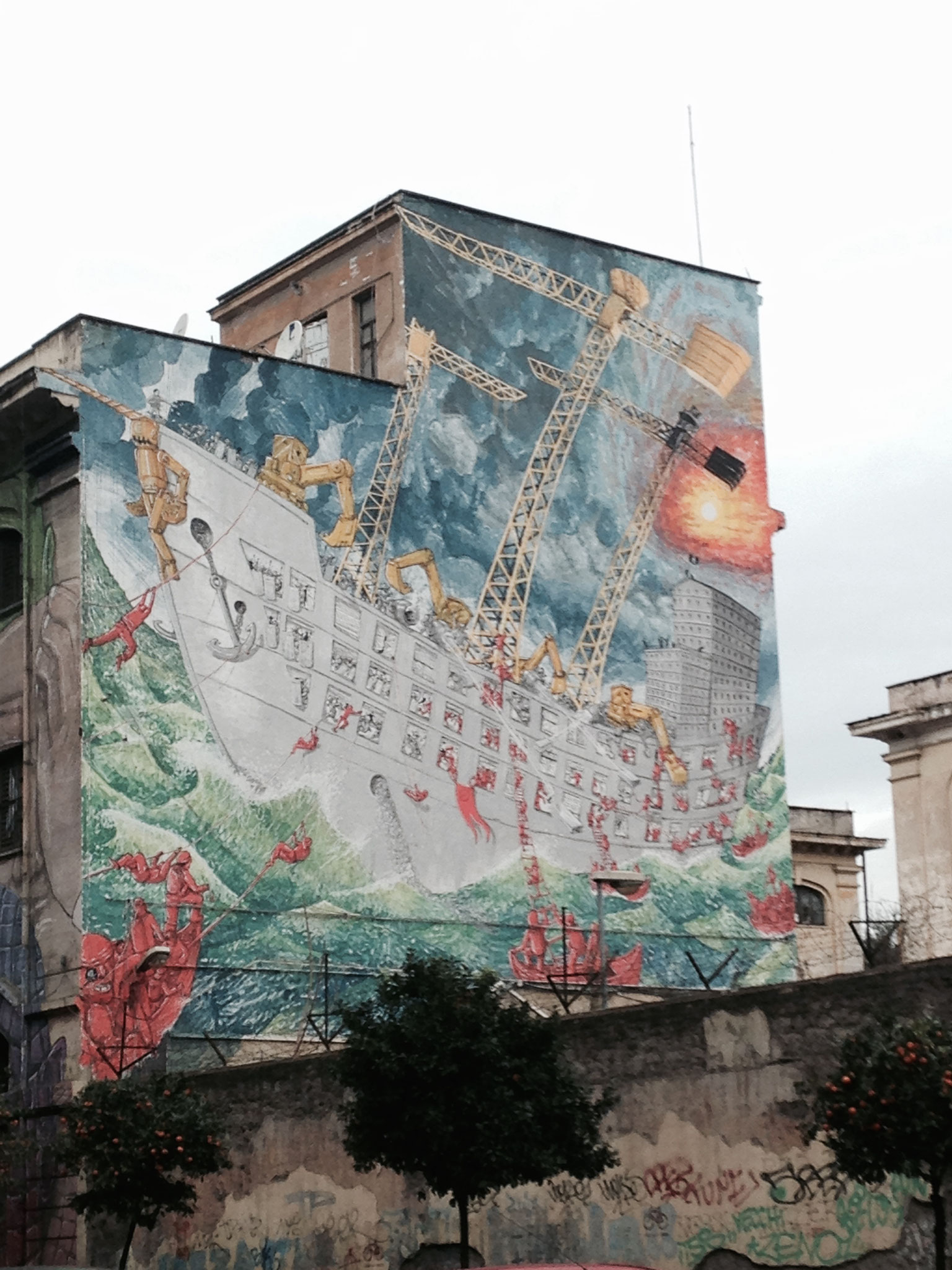 Ein Werk von BLU. Via Ostiense, Ecke Via del Porto Fluviale