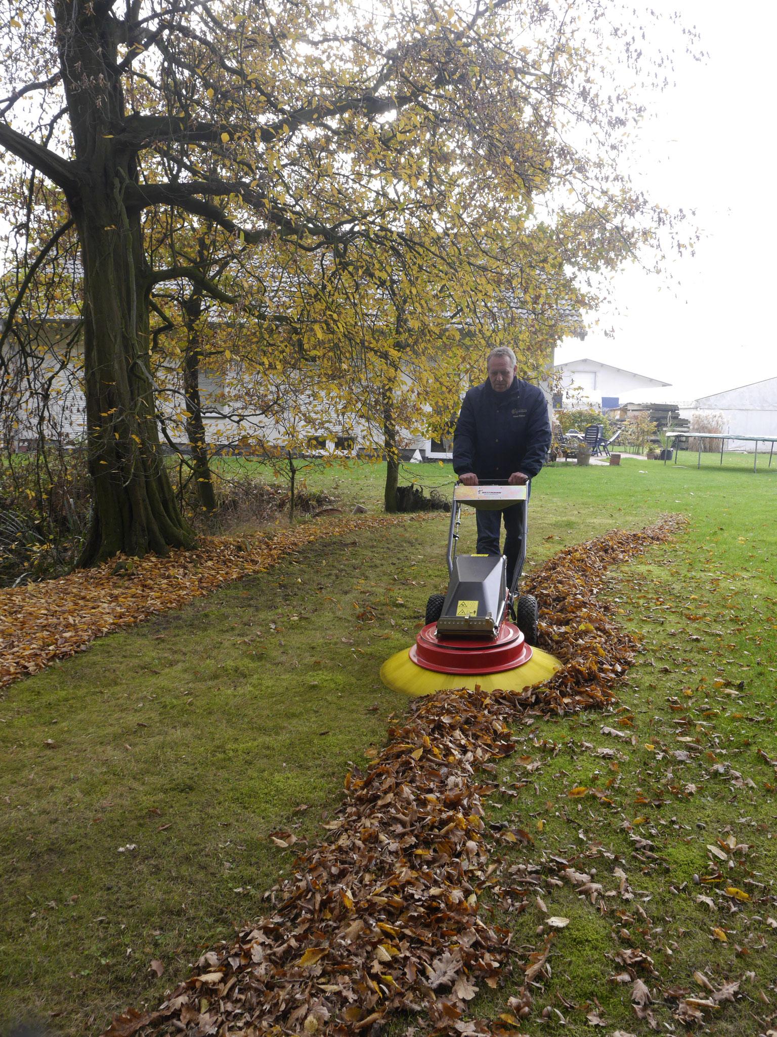 Turbobesen 902 Elektro beim Rasenflächen abfegen
